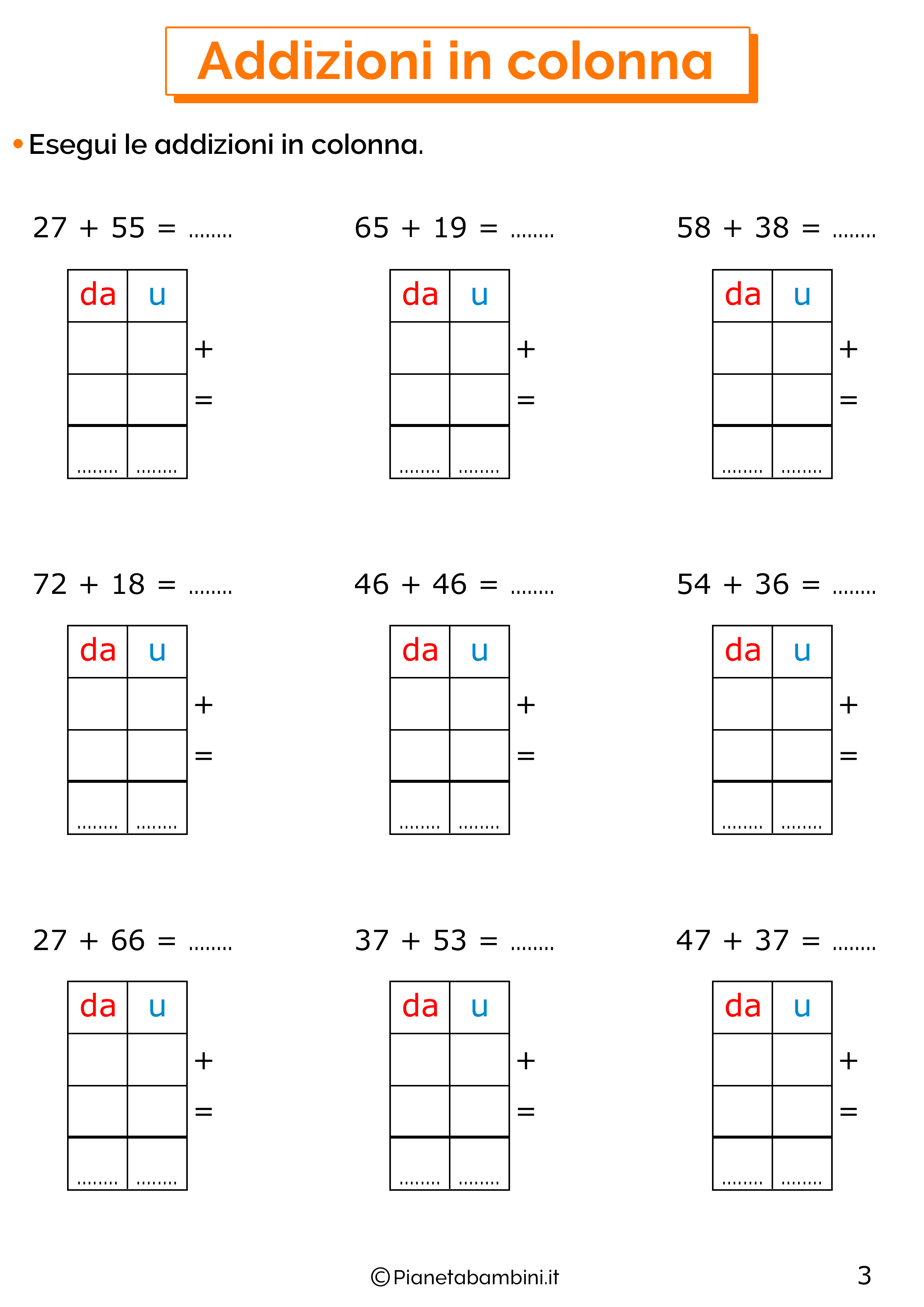 Esercizi sulle addizioni in colonna con il cambio 3