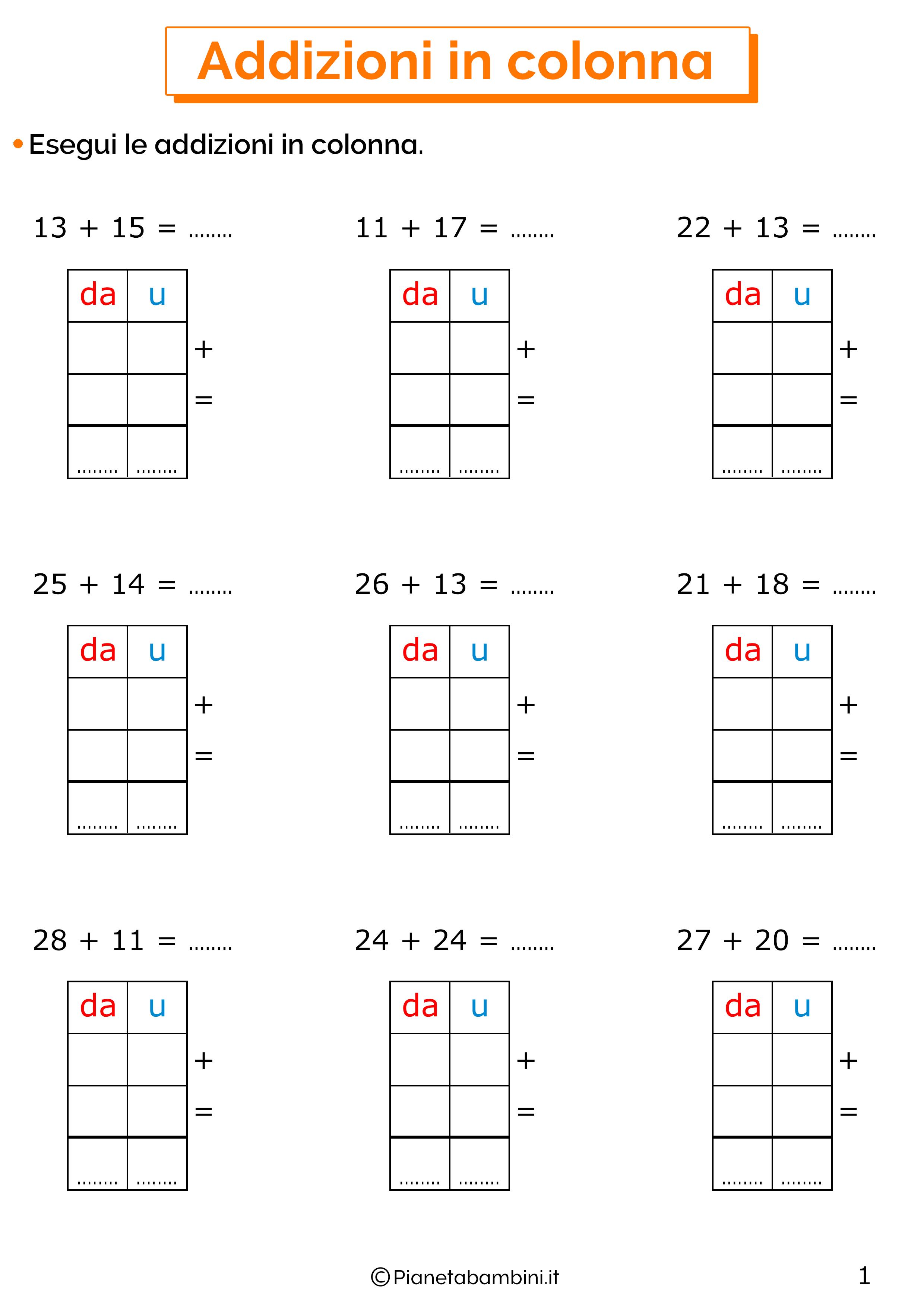 Esercizi sulle addizioni in colonna senza cambio 1