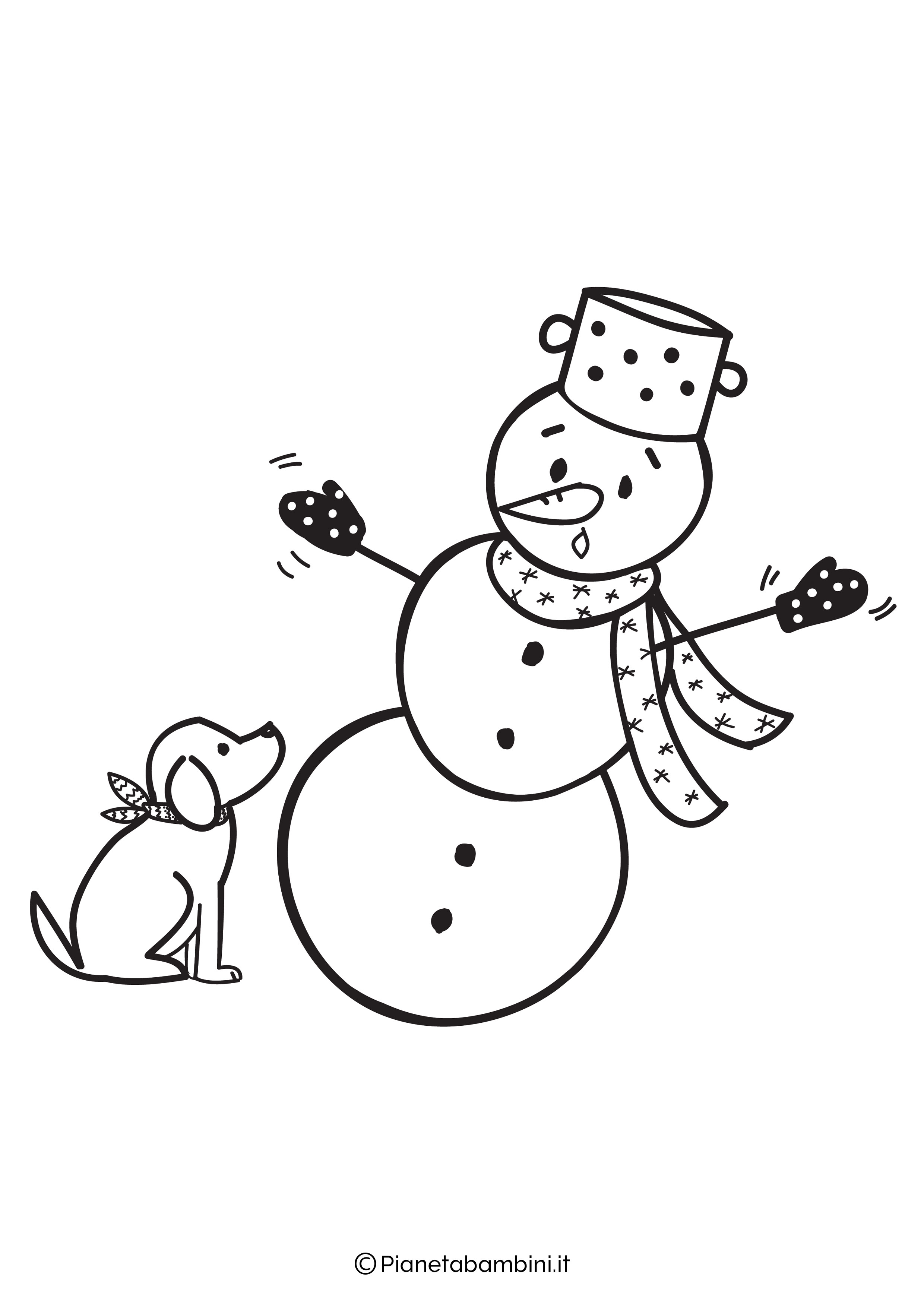 Disegno pupazzo di neve da colorare 03