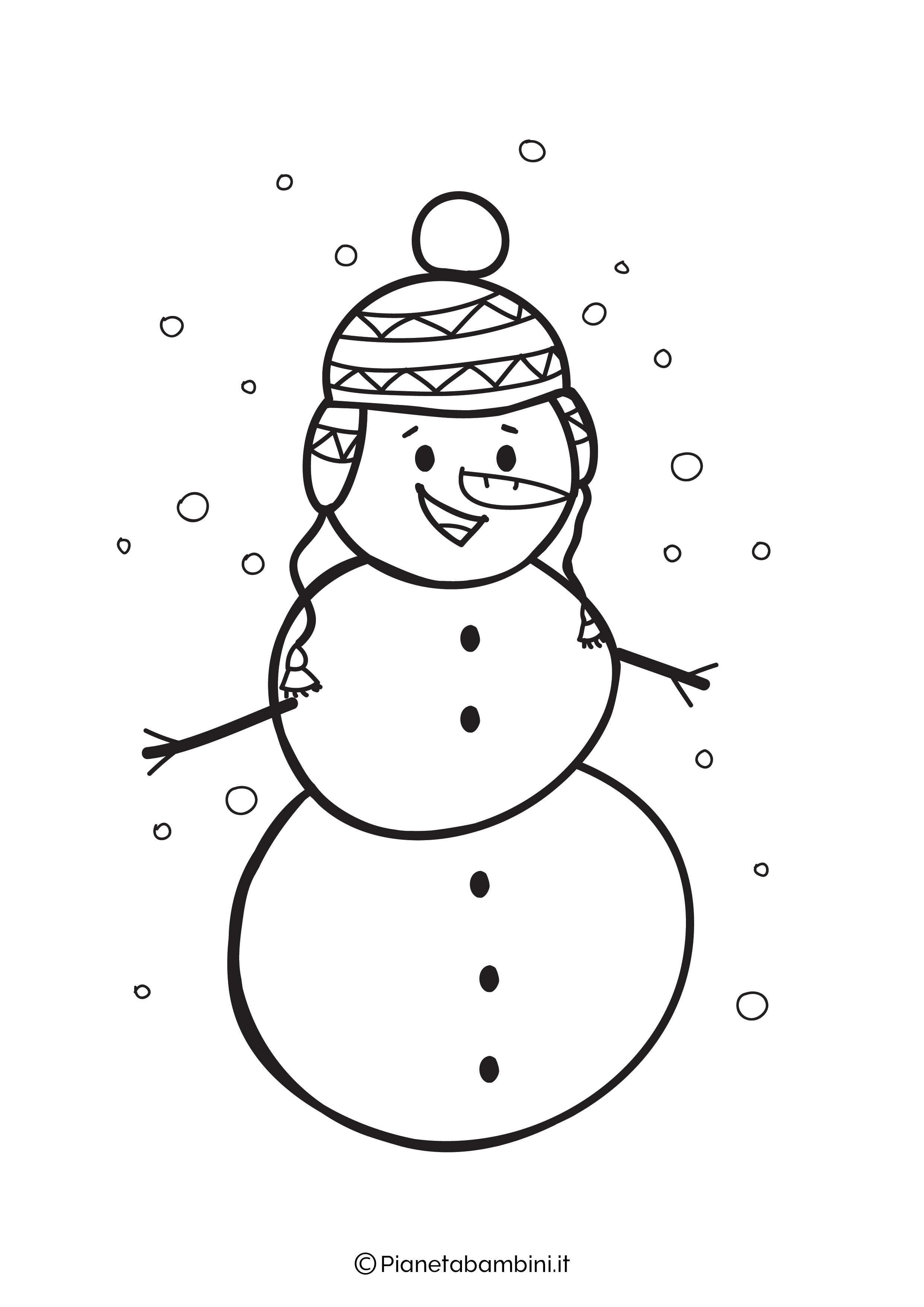 Disegno pupazzo di neve da colorare 05