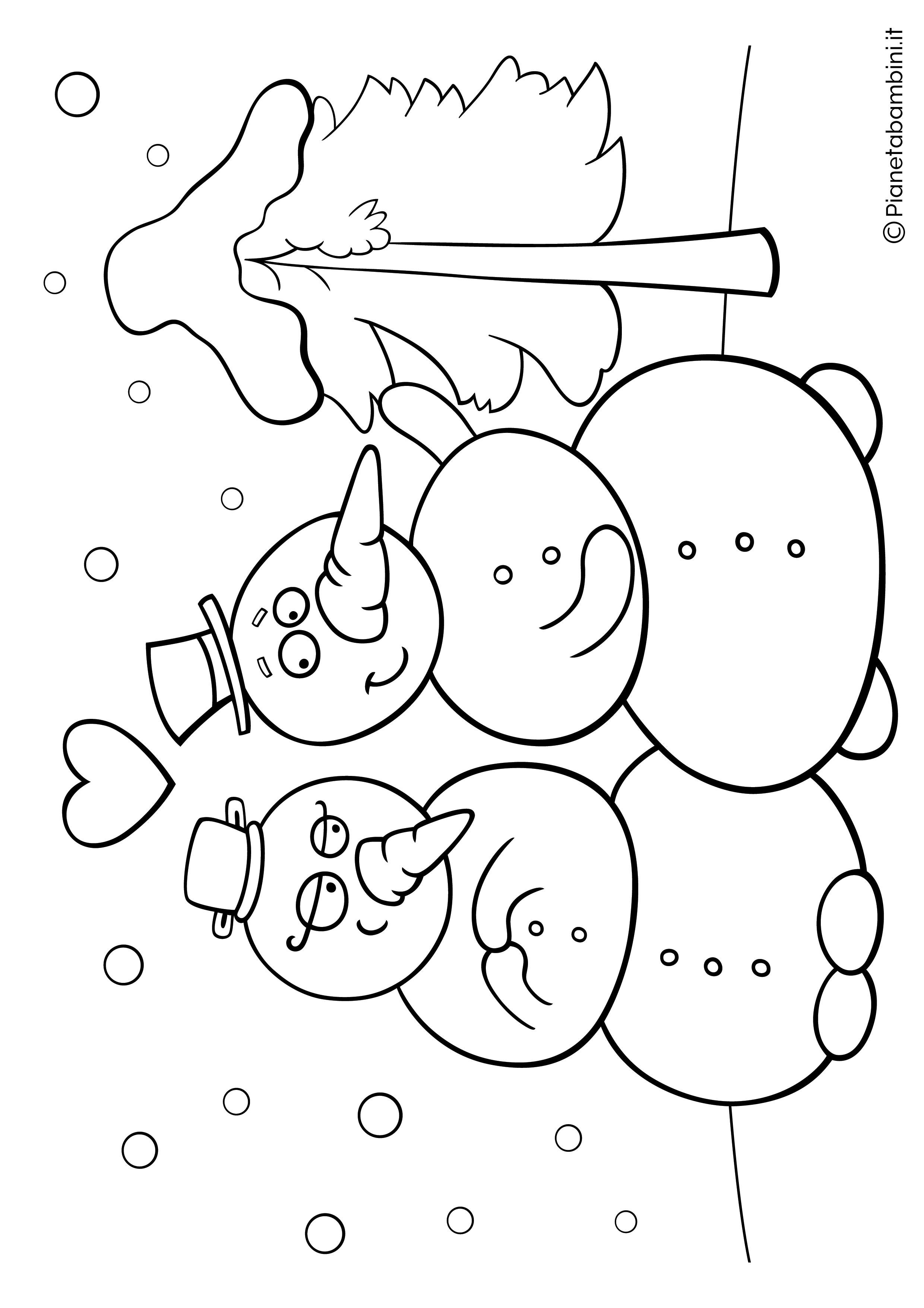Disegno pupazzo di neve da colorare 07
