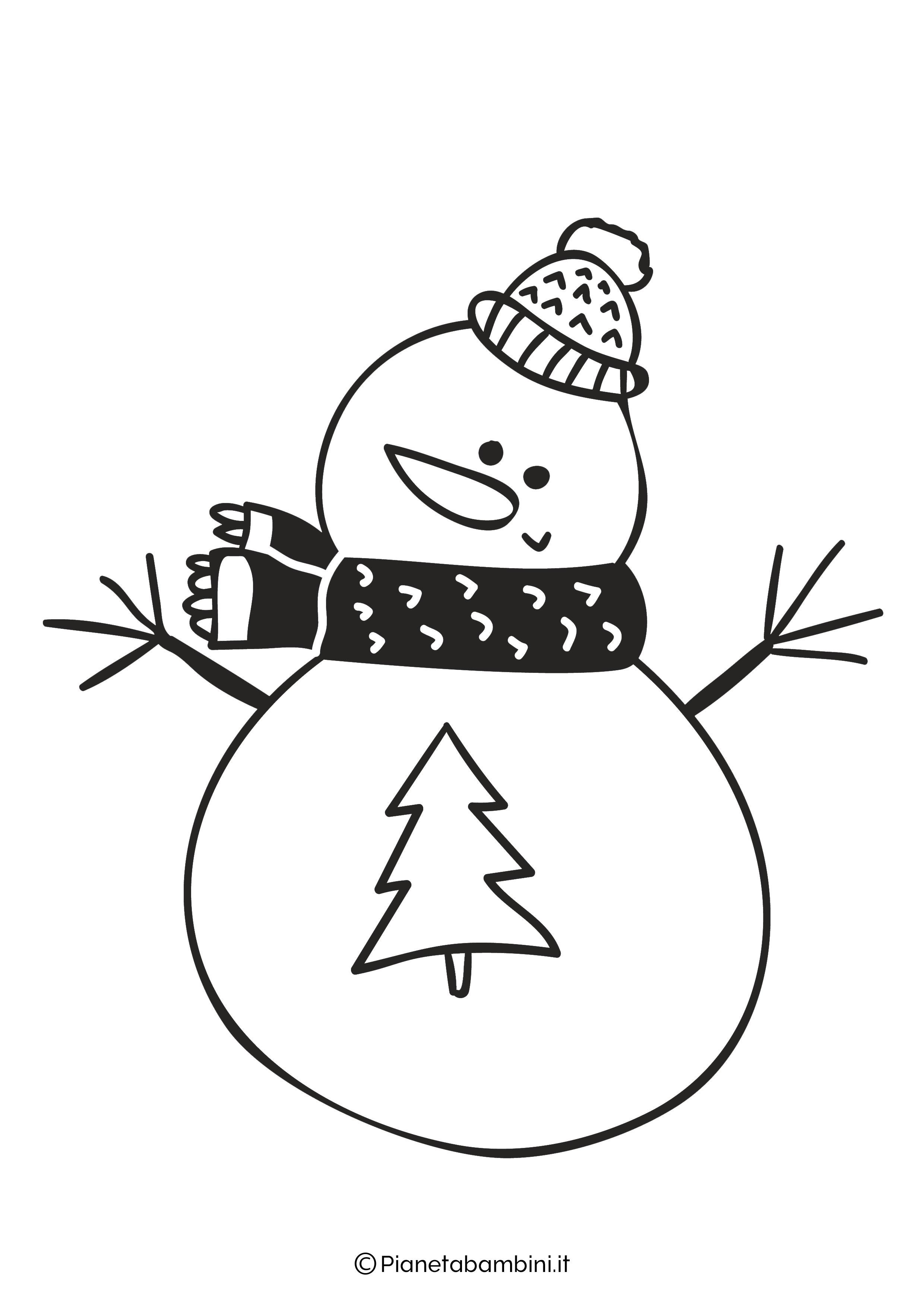 Disegno pupazzo di neve da colorare 14