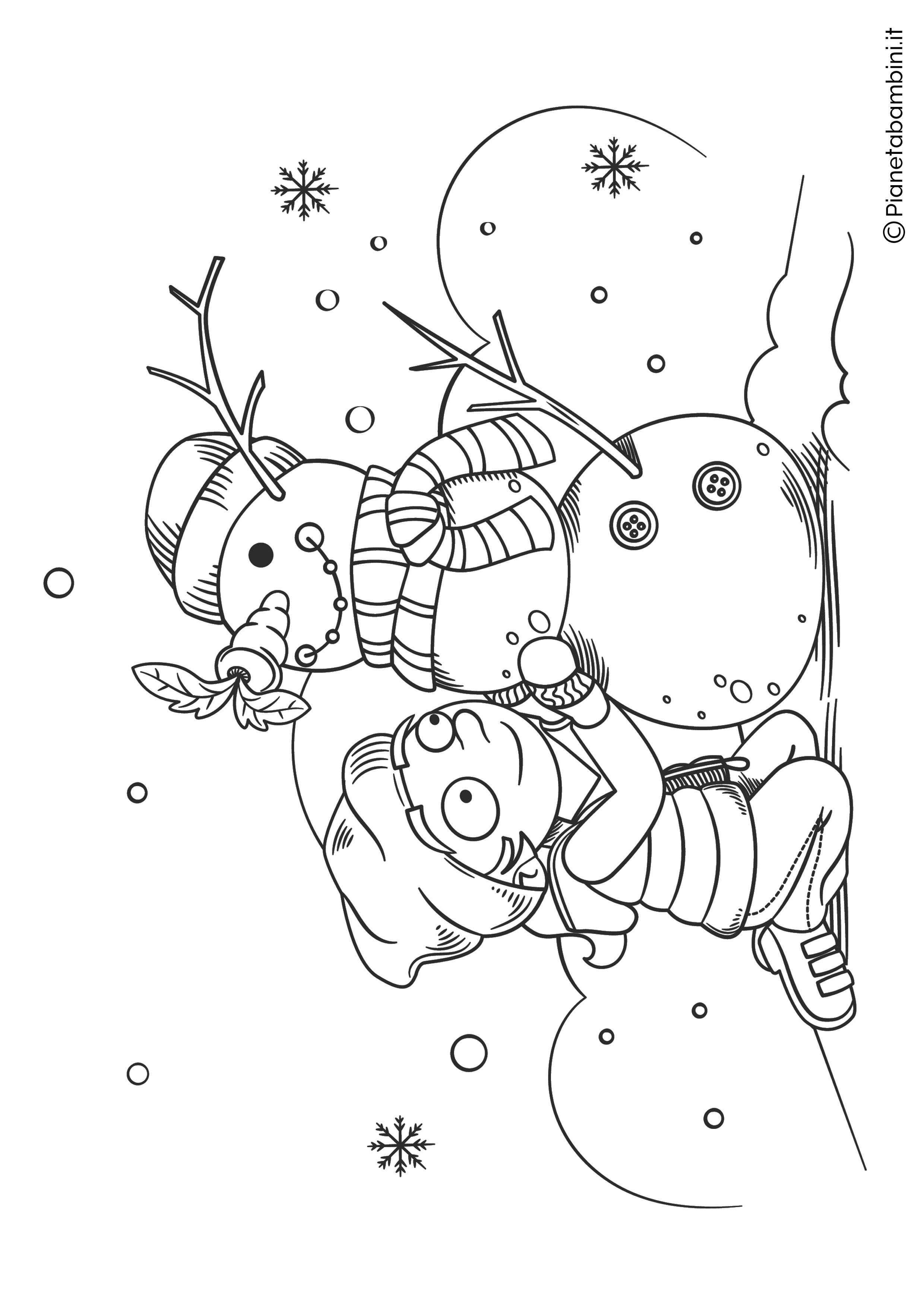 Disegno pupazzo di neve da colorare 19