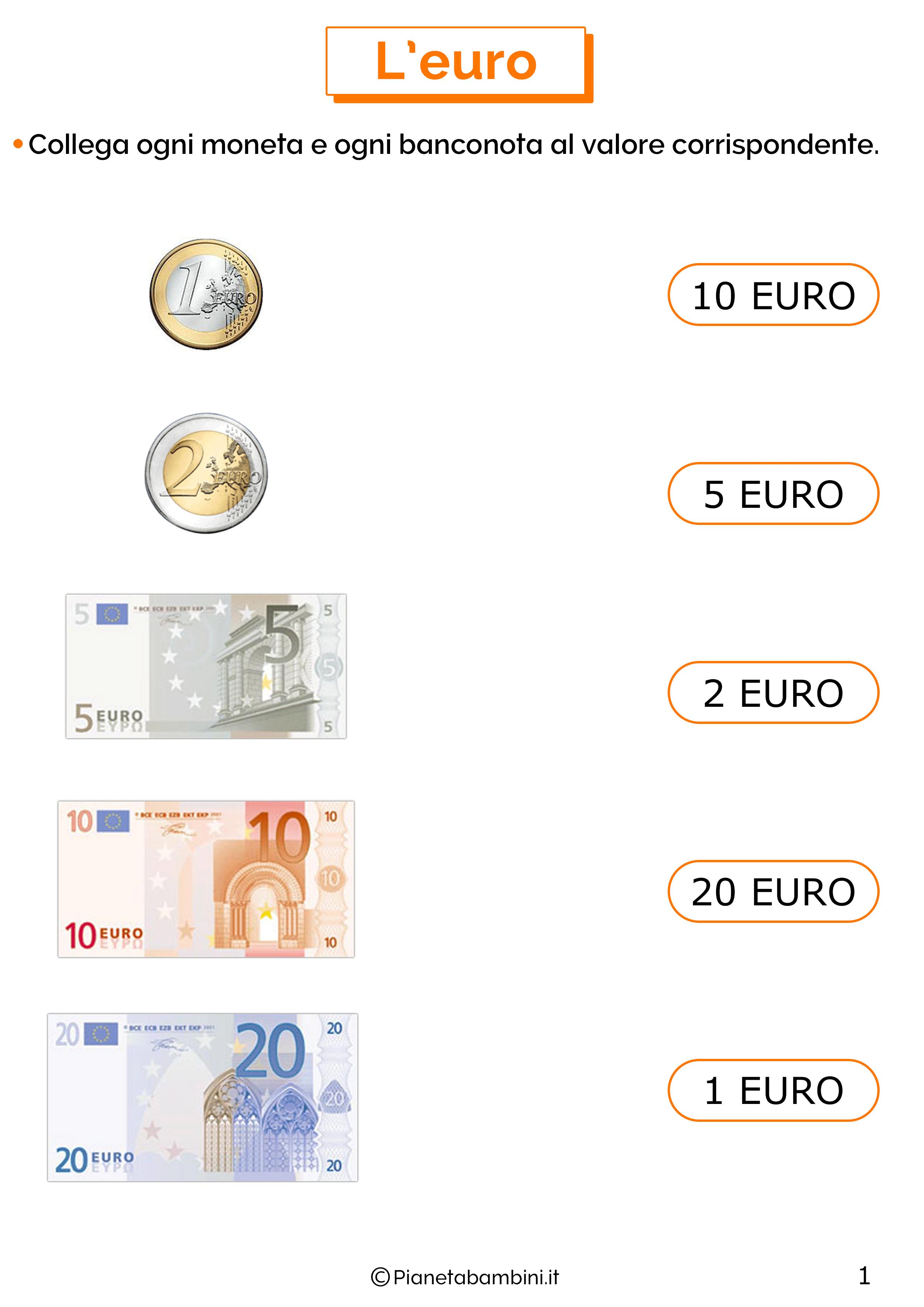 Schede sull'euro per la classe prima 1