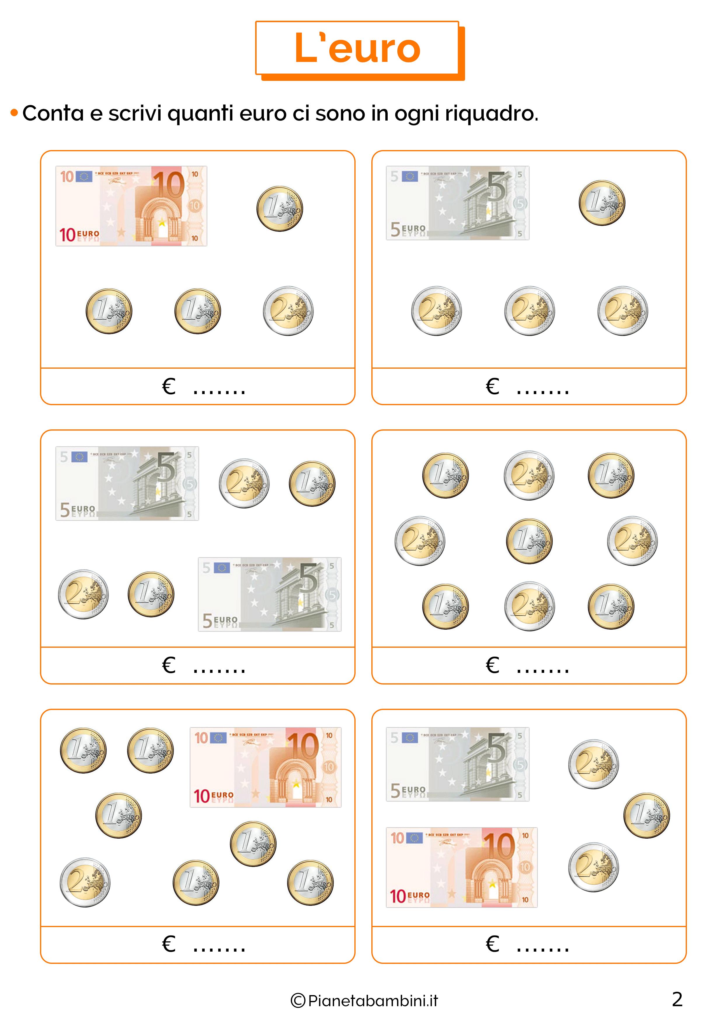 Schede sull'euro per la classe prima 2