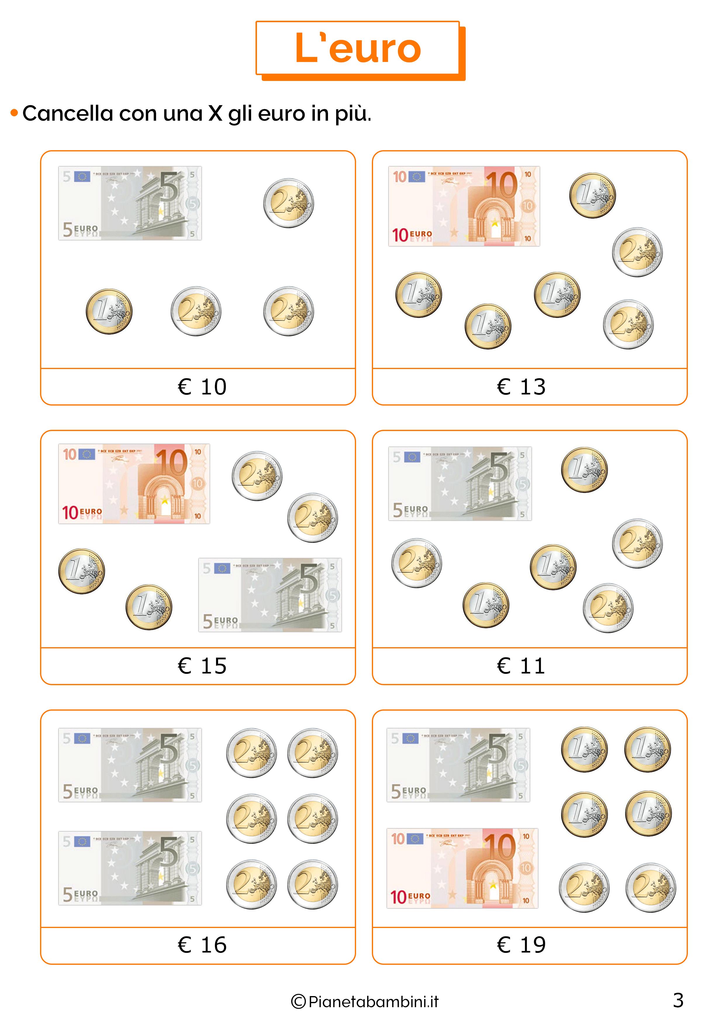 Schede sull'euro per la classe prima 3
