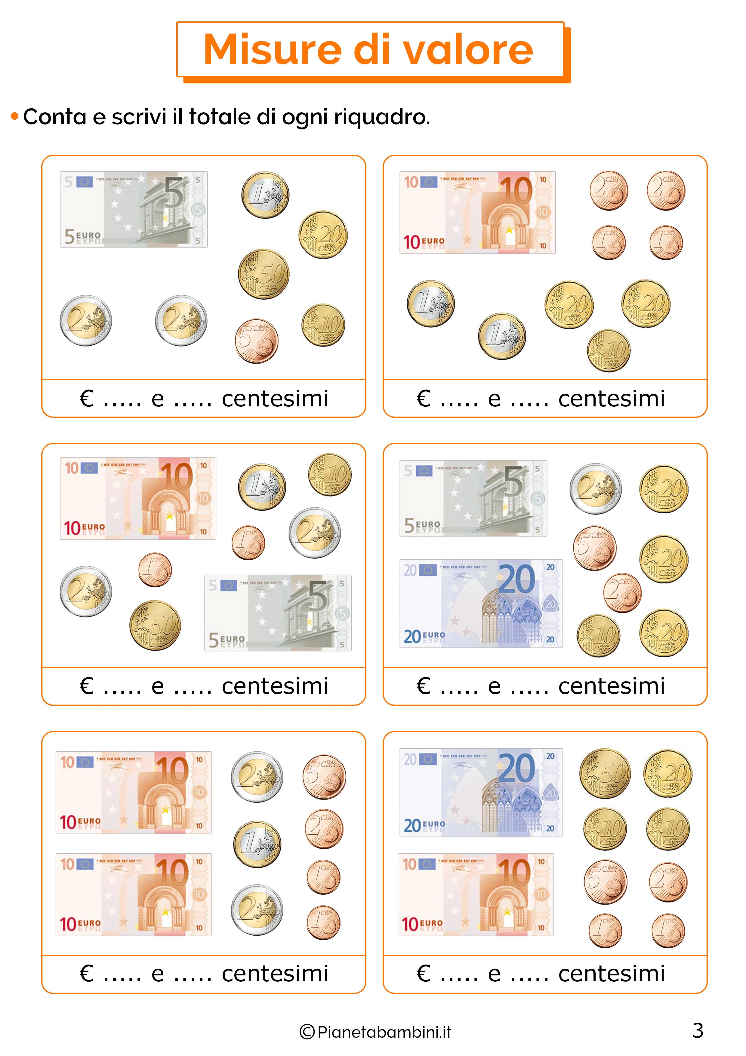 Schede sull'euro per la classe seconda 3