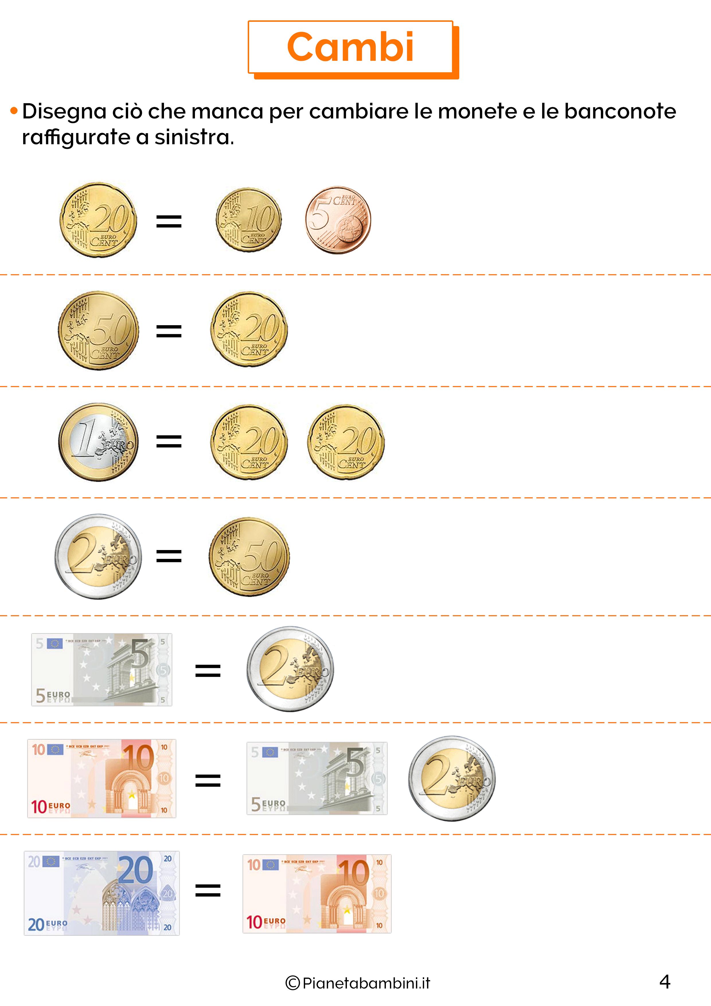 Schede sull'euro per la classe seconda 4