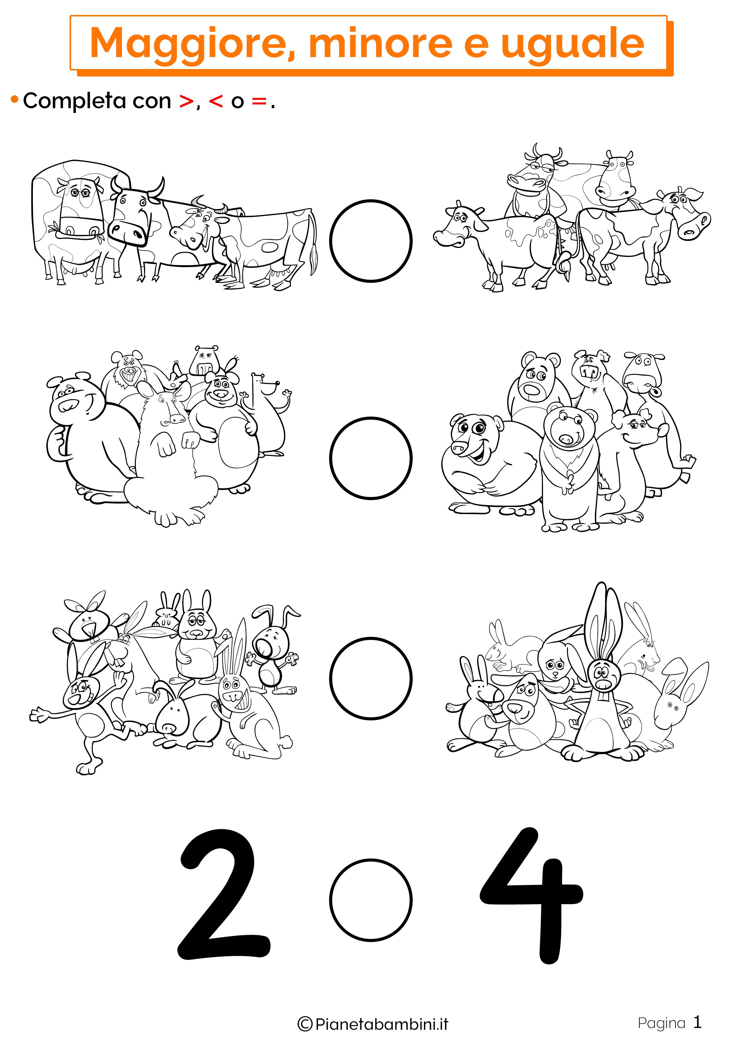 Esercizi su maggiore minore uguale da stampare 01