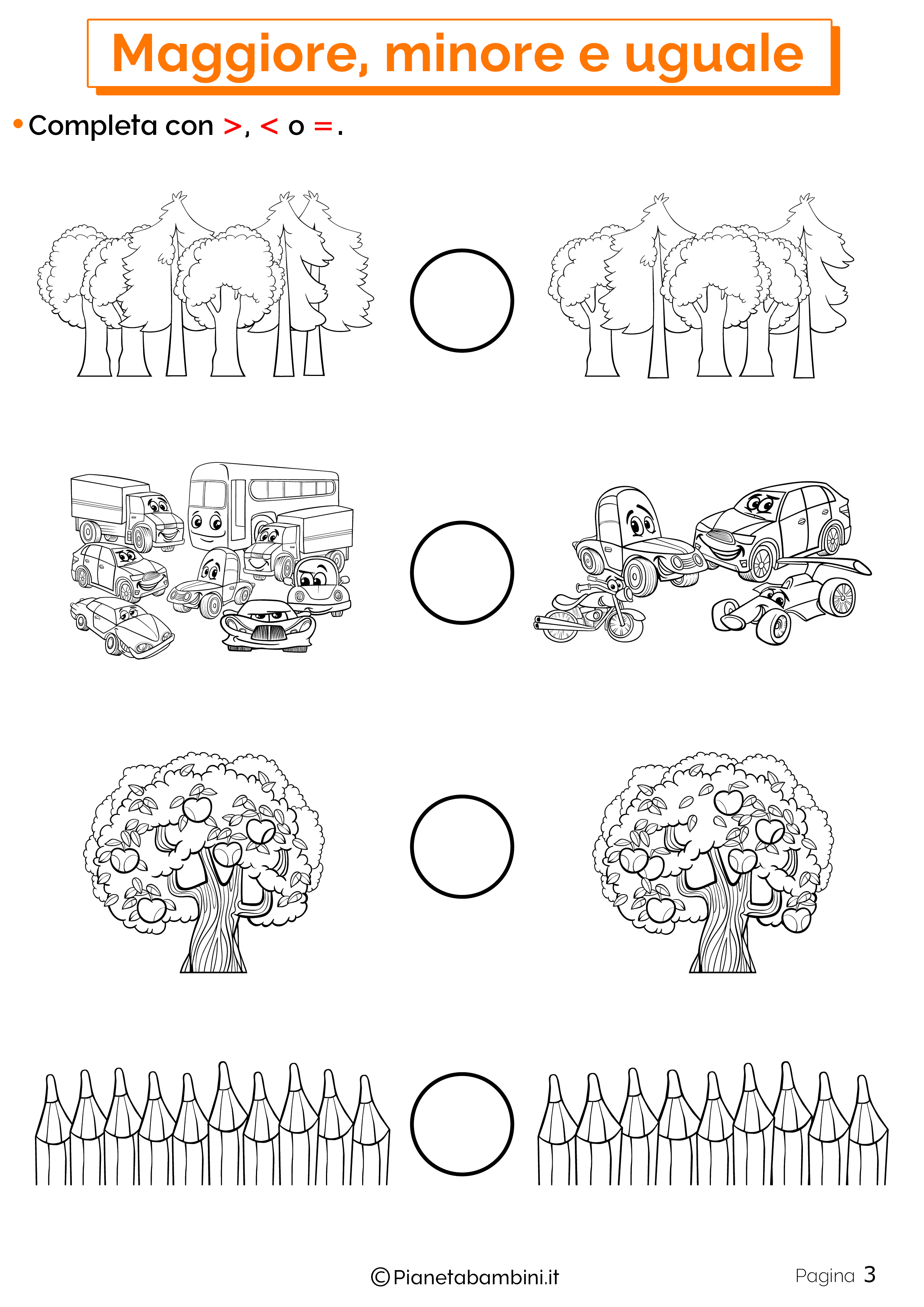 Esercizi su maggiore minore uguale da stampare 03