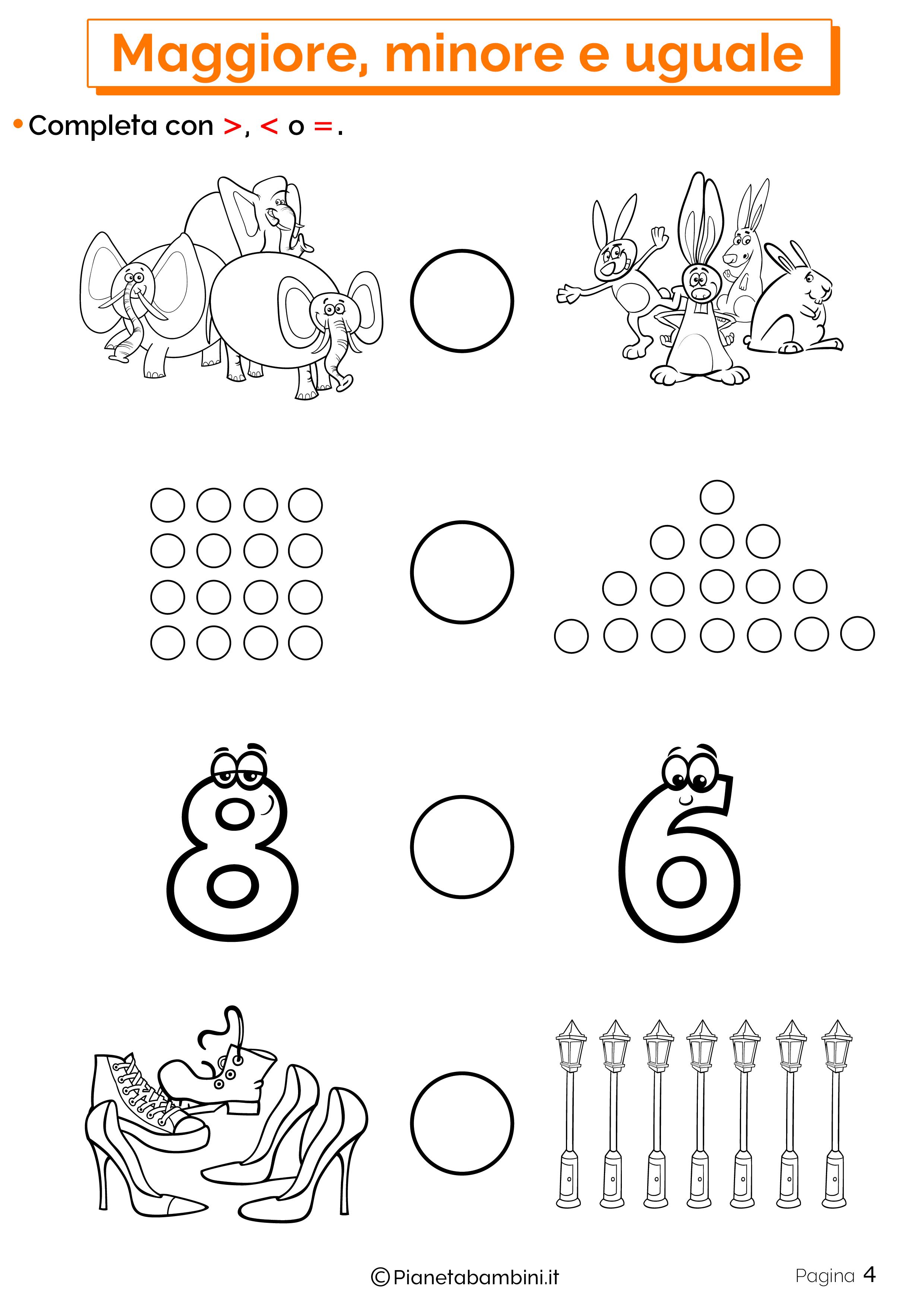 Esercizi su maggiore minore uguale da stampare 04