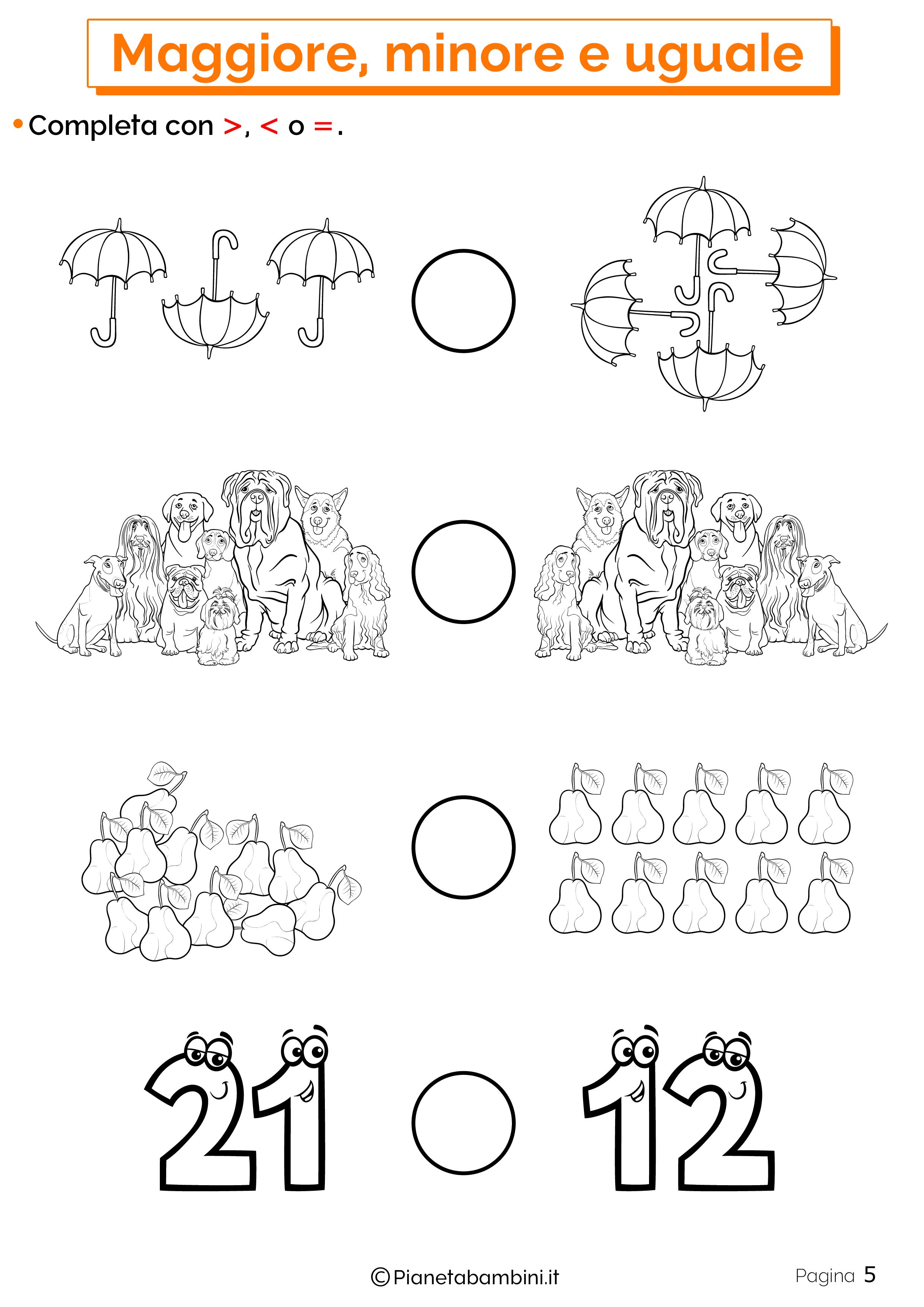 Esercizi su maggiore minore uguale da stampare 05