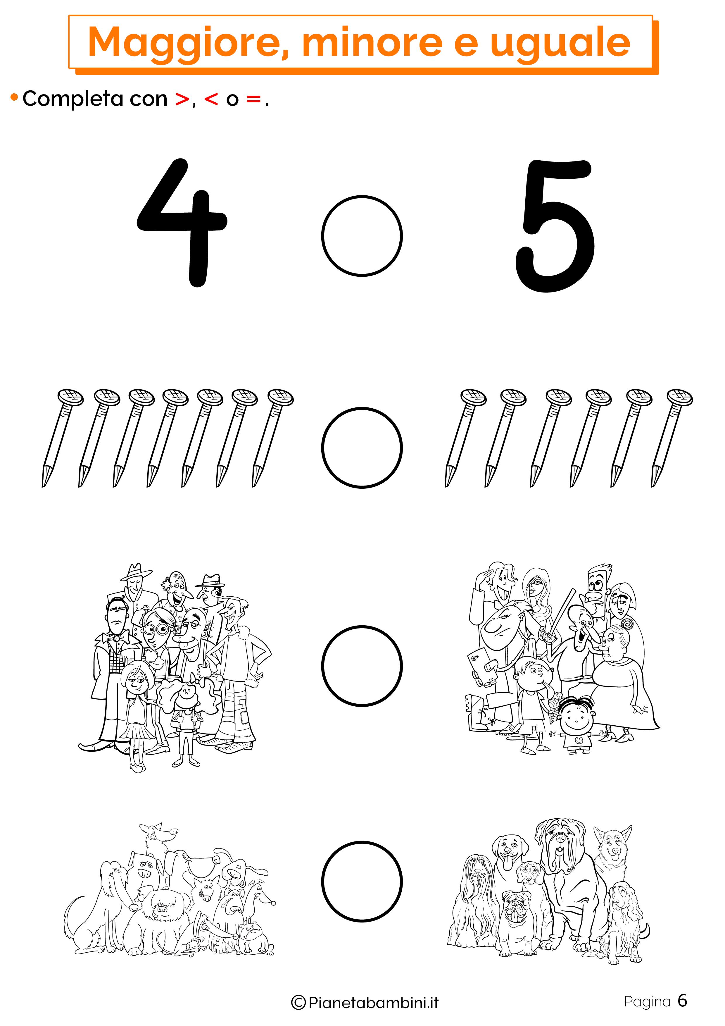 Esercizi su maggiore minore uguale da stampare 06