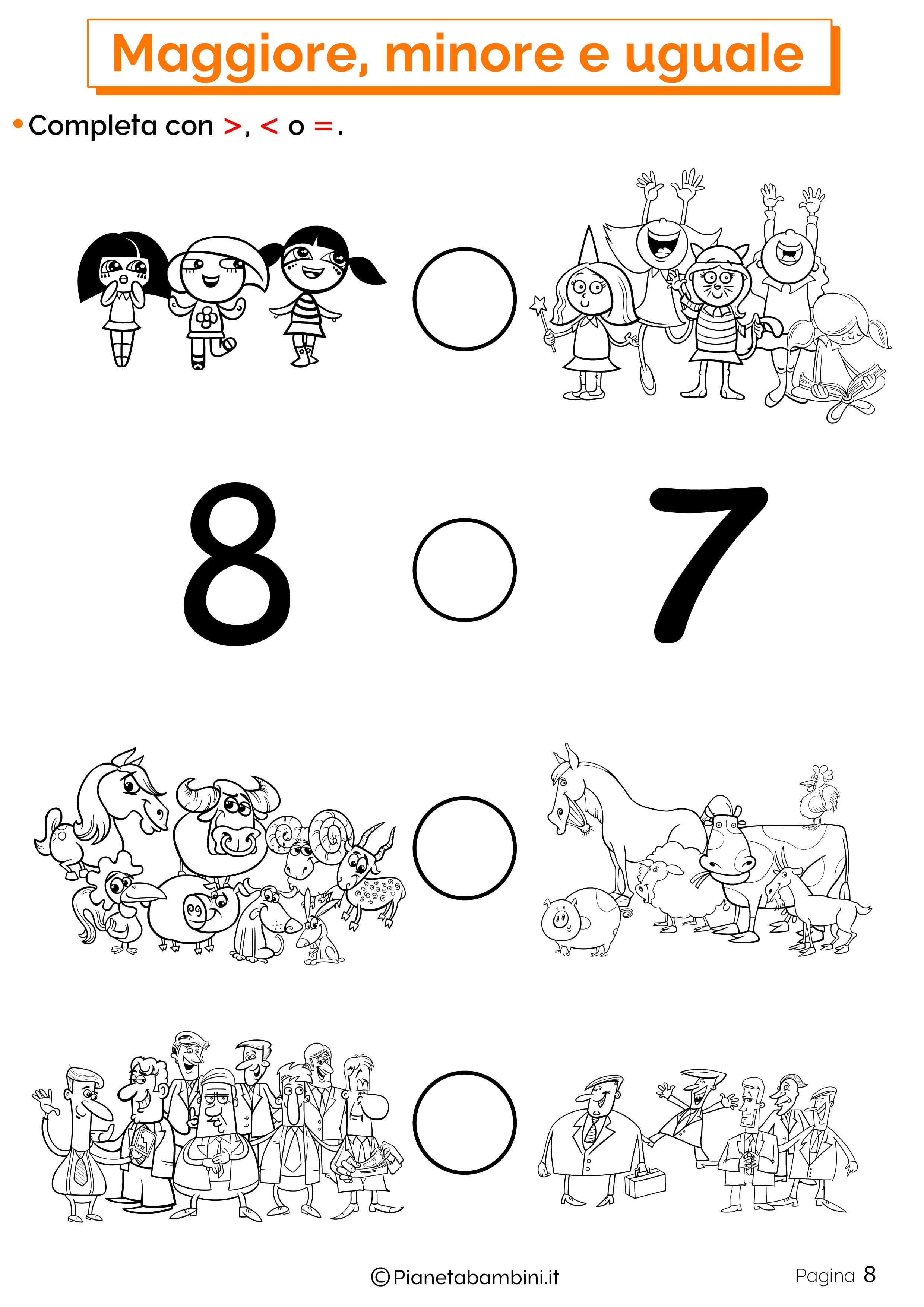 Esercizi su maggiore minore uguale da stampare 08