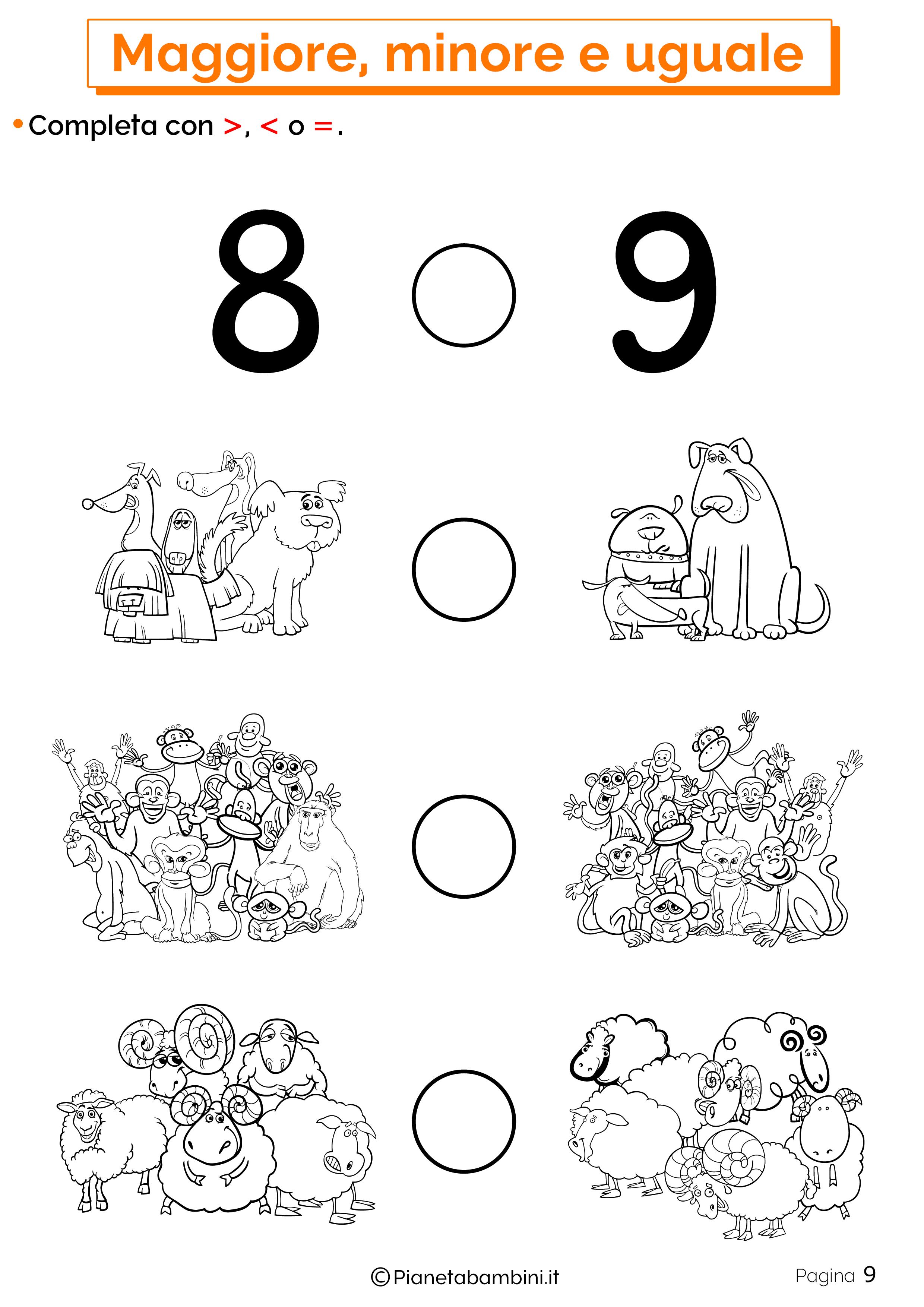 Esercizi su maggiore minore uguale da stampare 09
