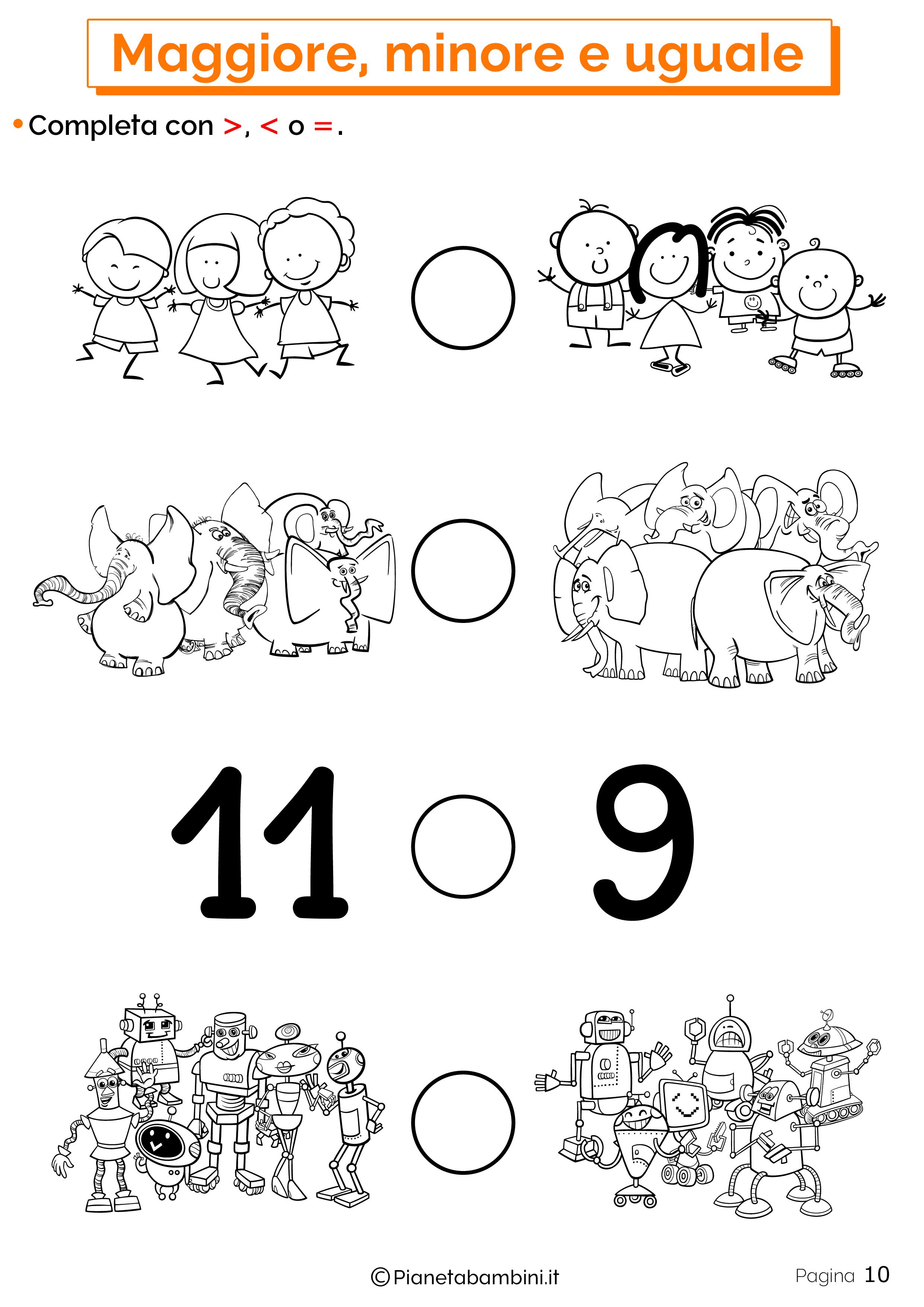 Esercizi su maggiore minore uguale da stampare 10