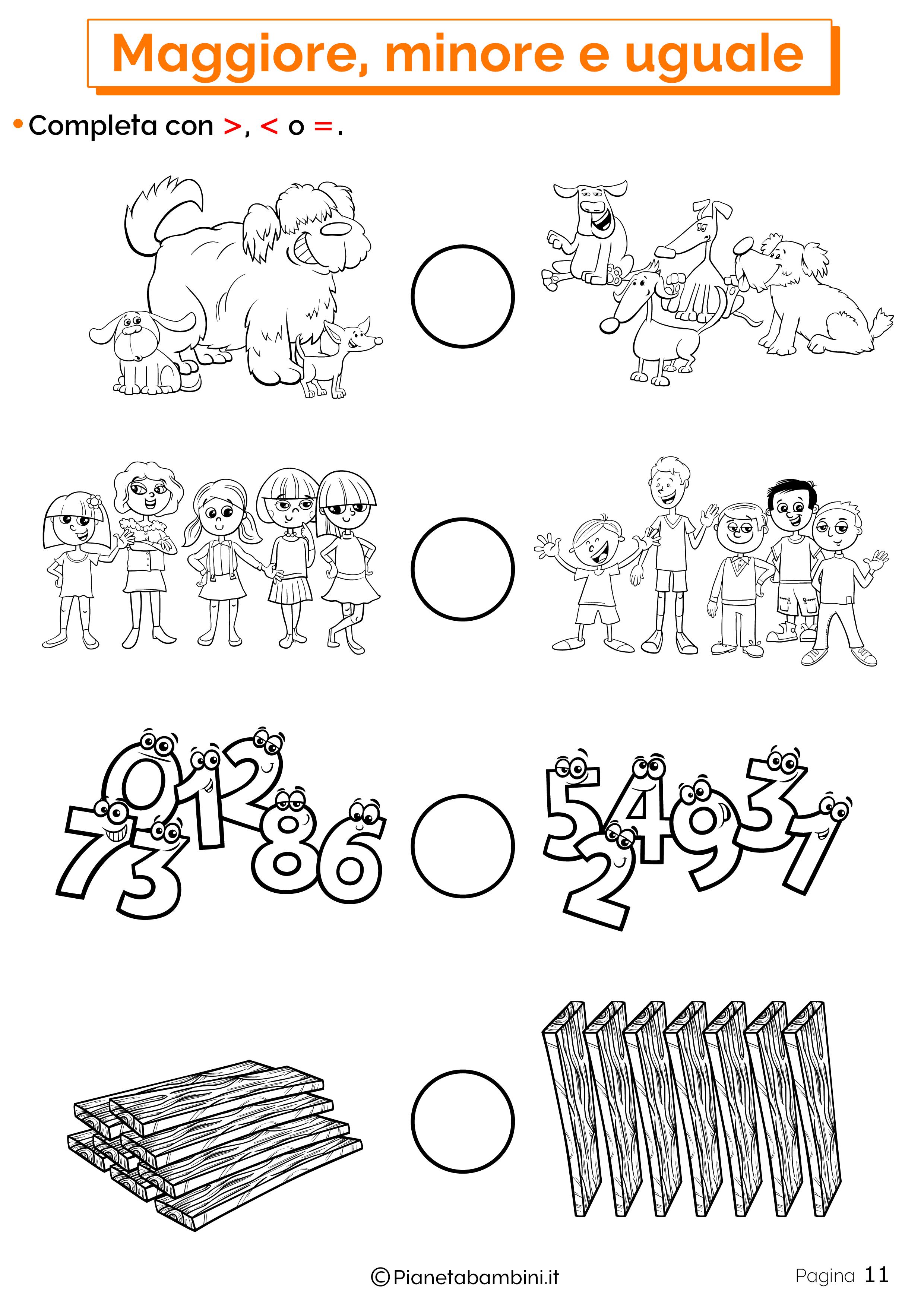 Esercizi su maggiore minore uguale da stampare 11