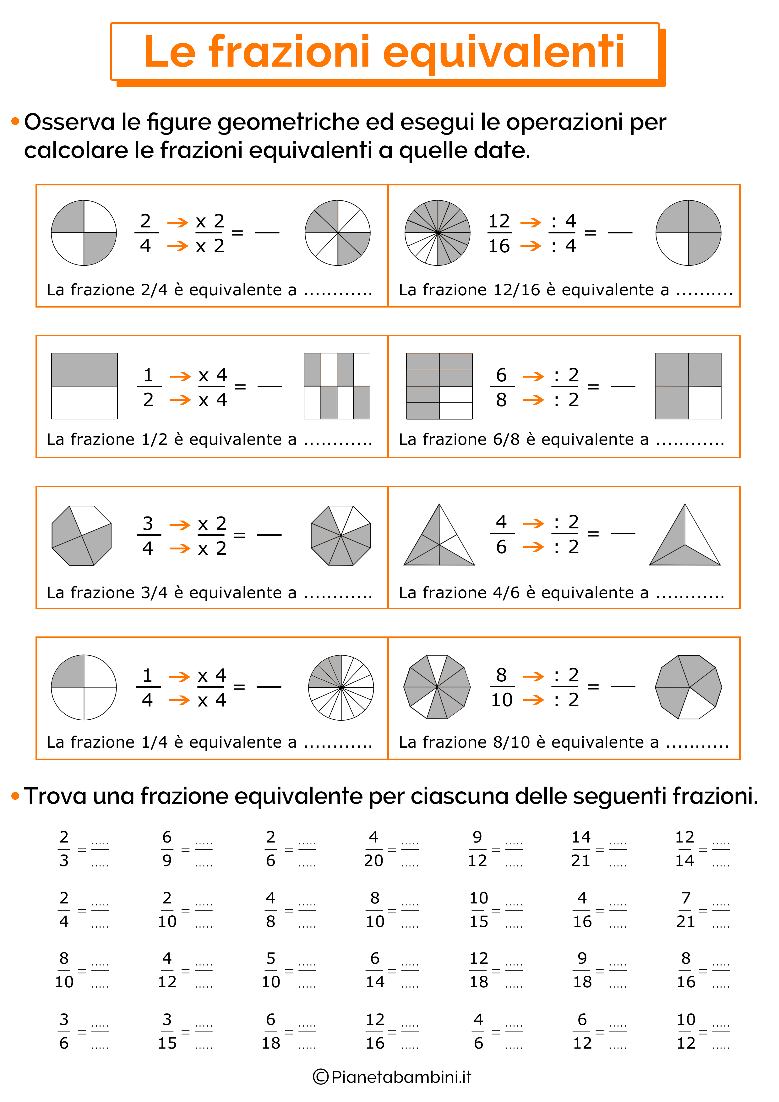 Esercizi sulle frazioni equivalenti