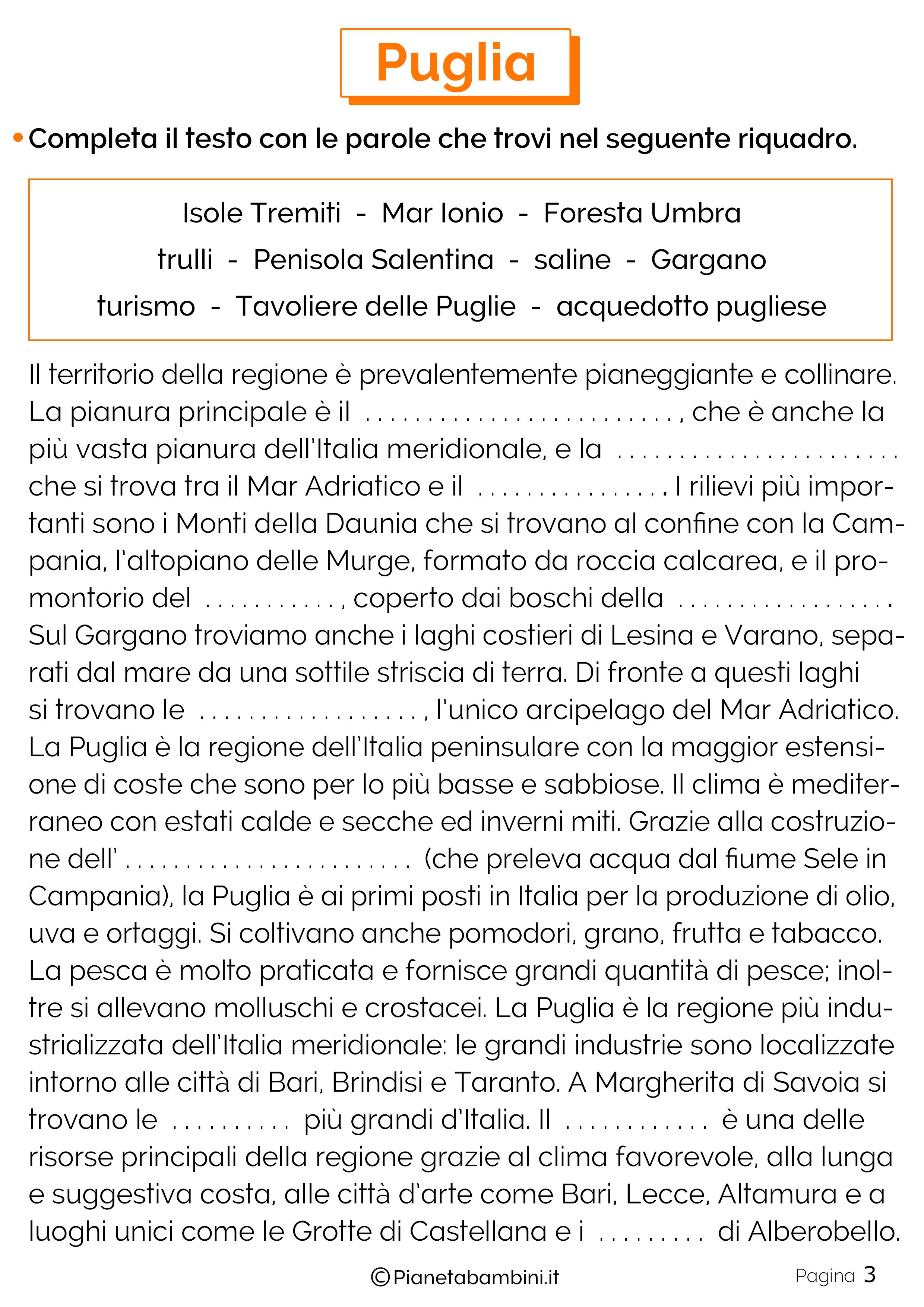 Esercizi sulla Puglia 3