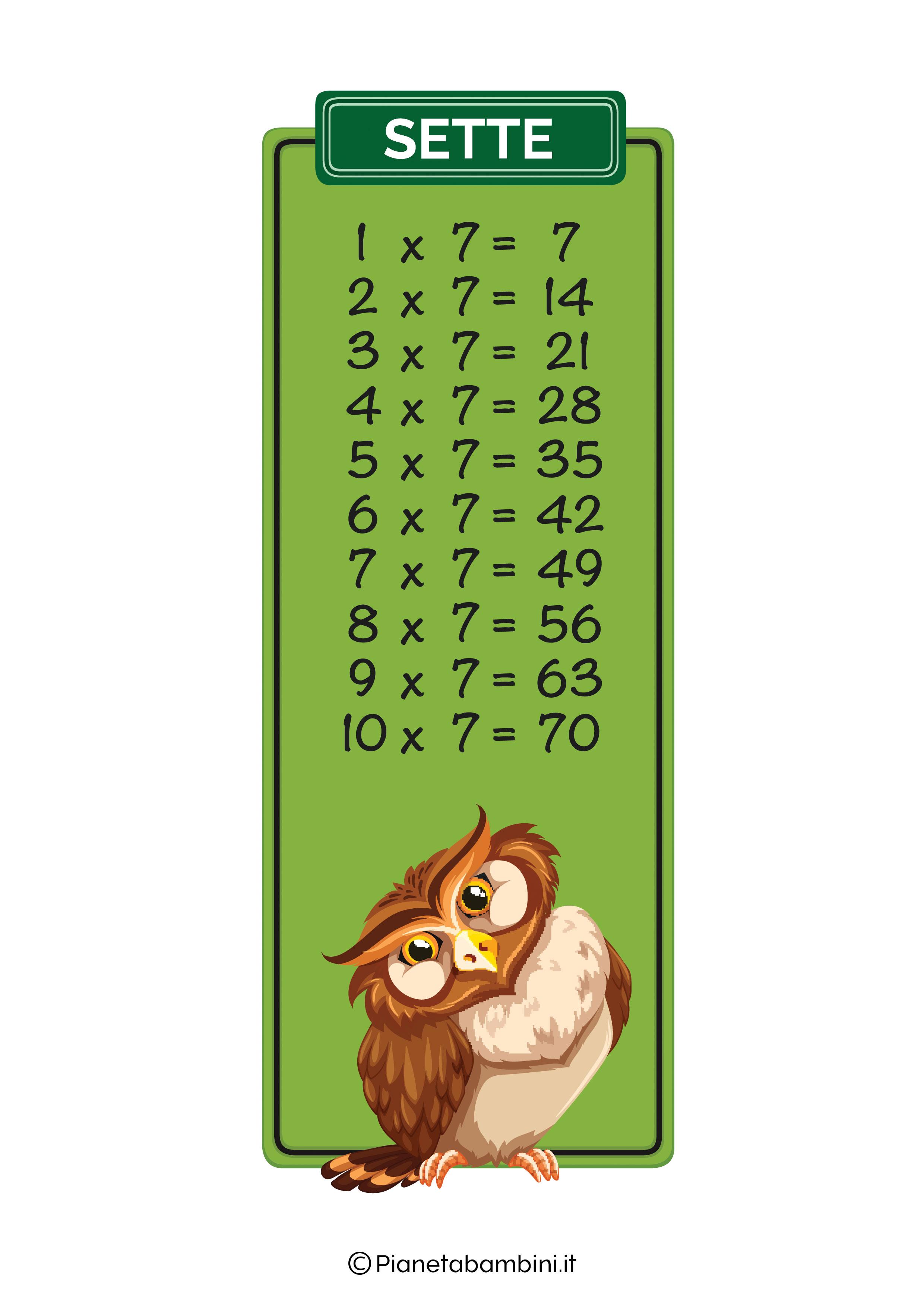 Tabellina Sette Animali stampare