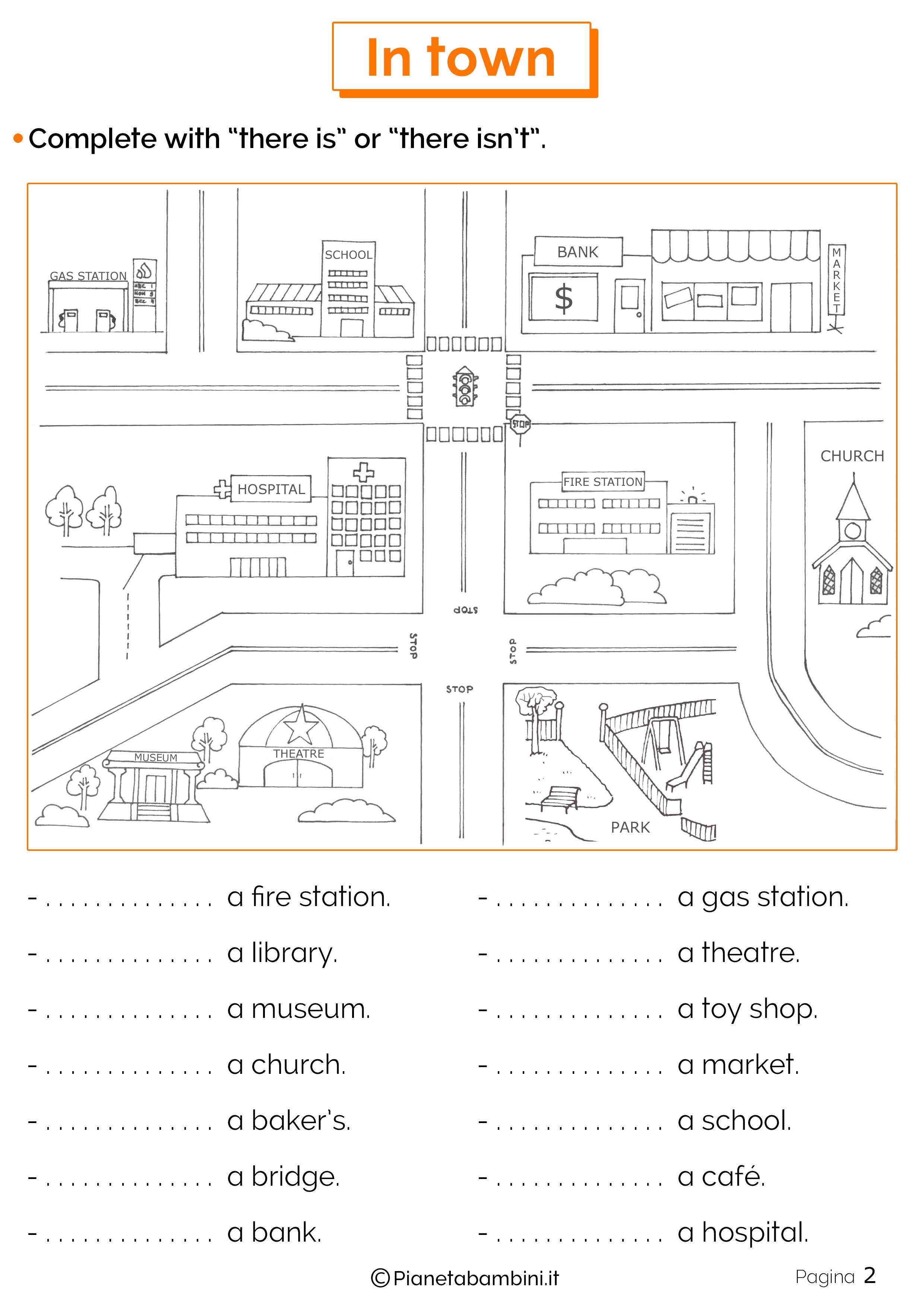 Esercizi sulla città in inglese 2