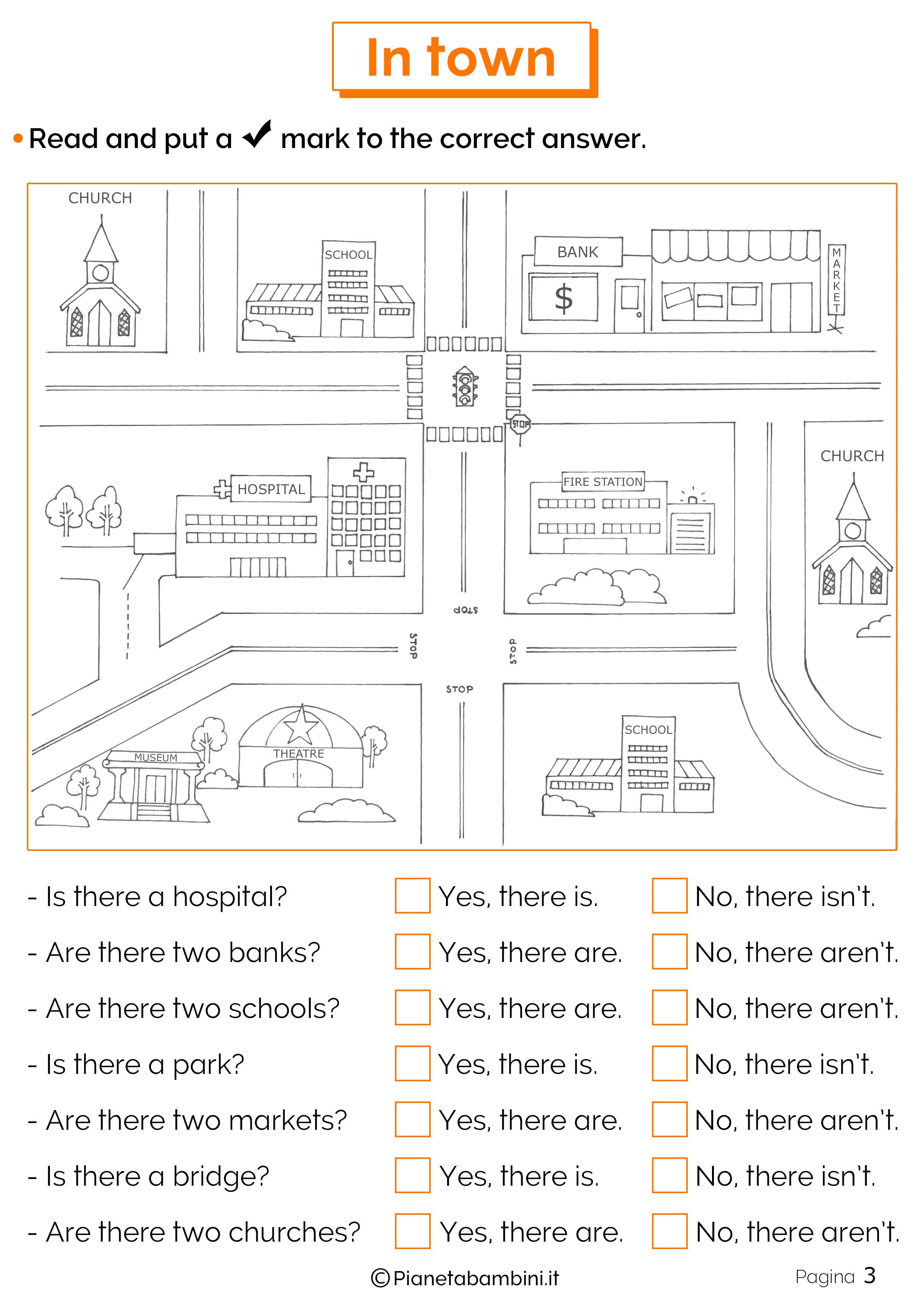 Esercizi sulla città in inglese 3