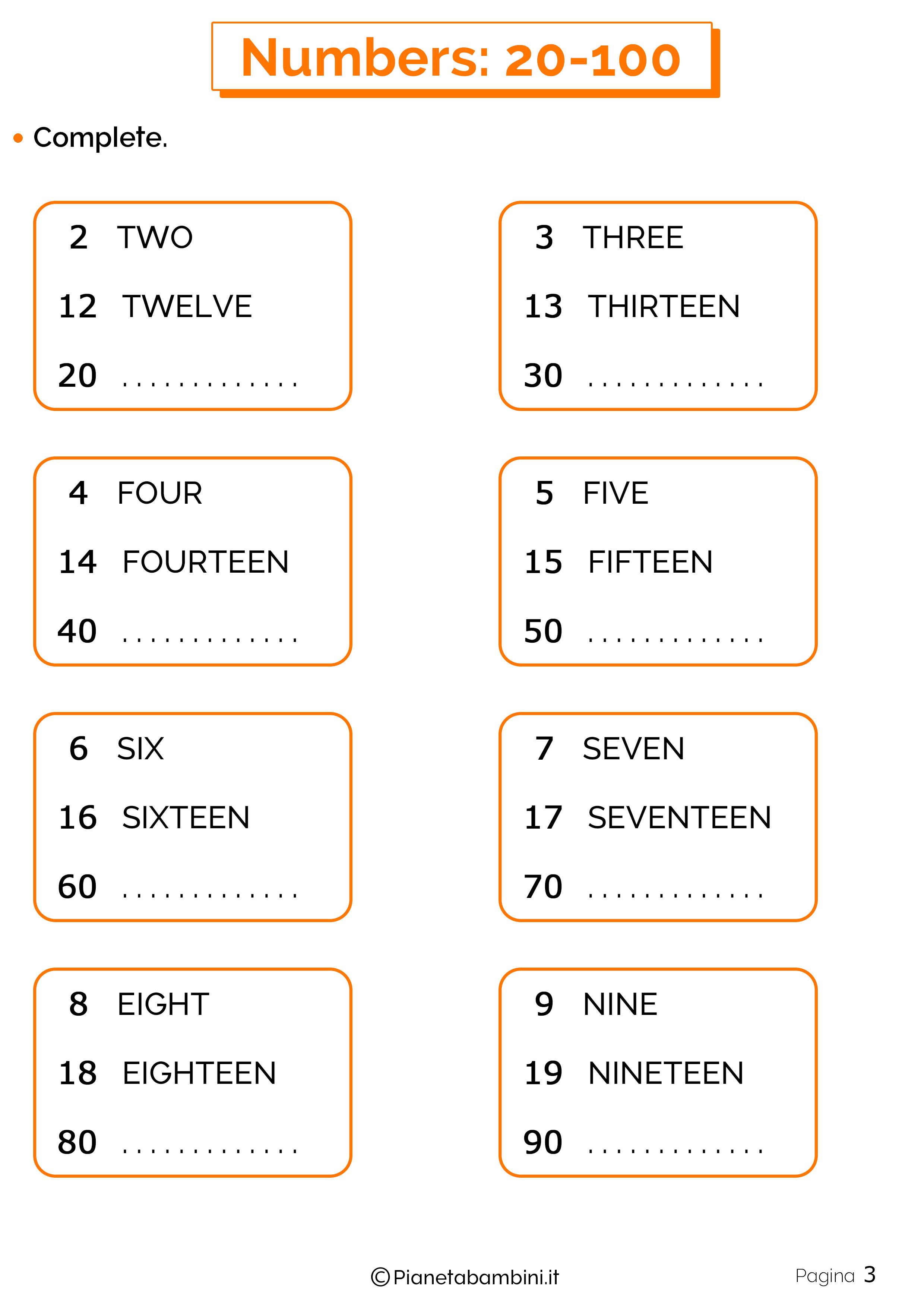 Esercizi sui numeri in inglese da 20 a 100 3
