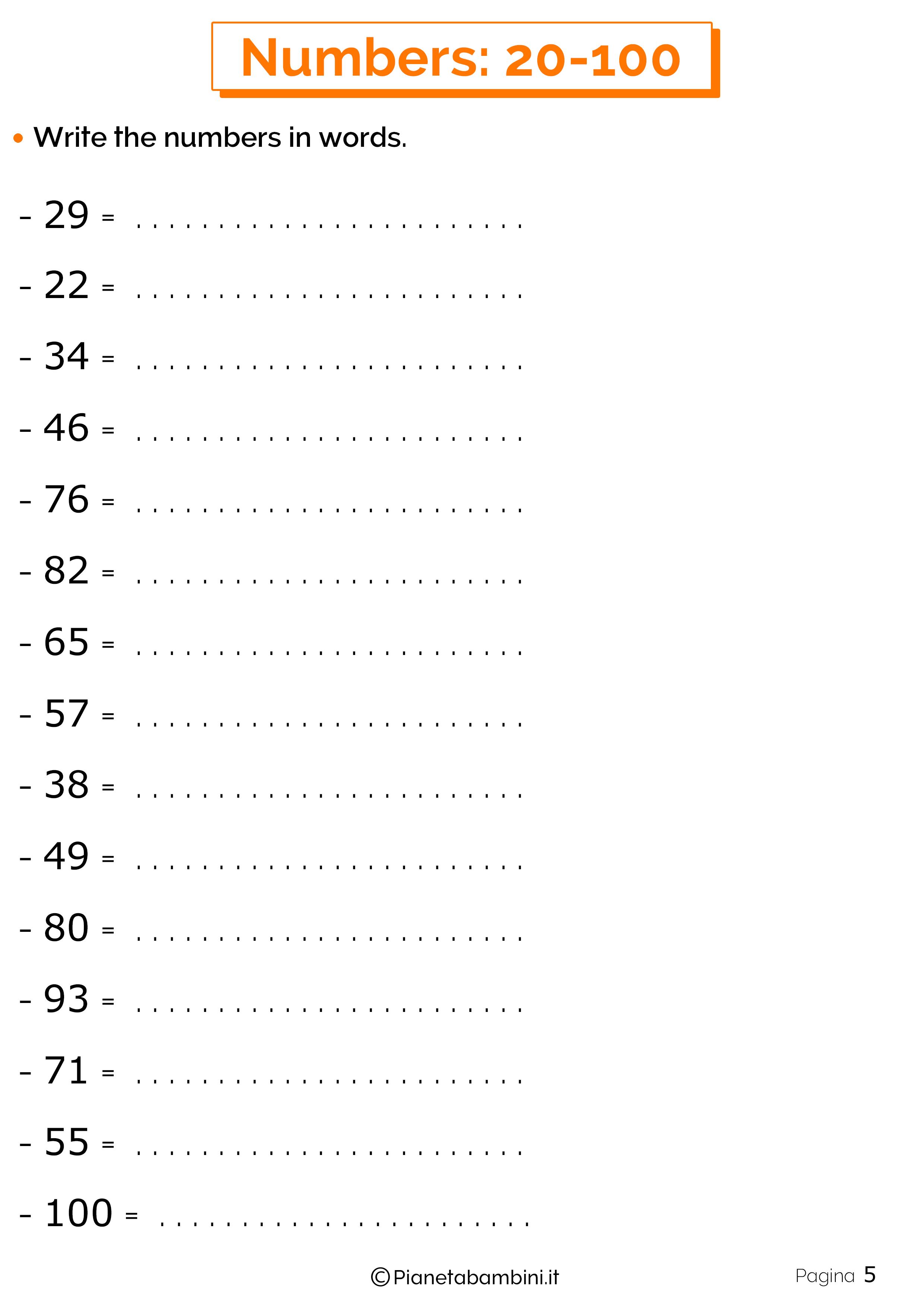 Esercizi sui numeri in inglese da 20 a 100 5