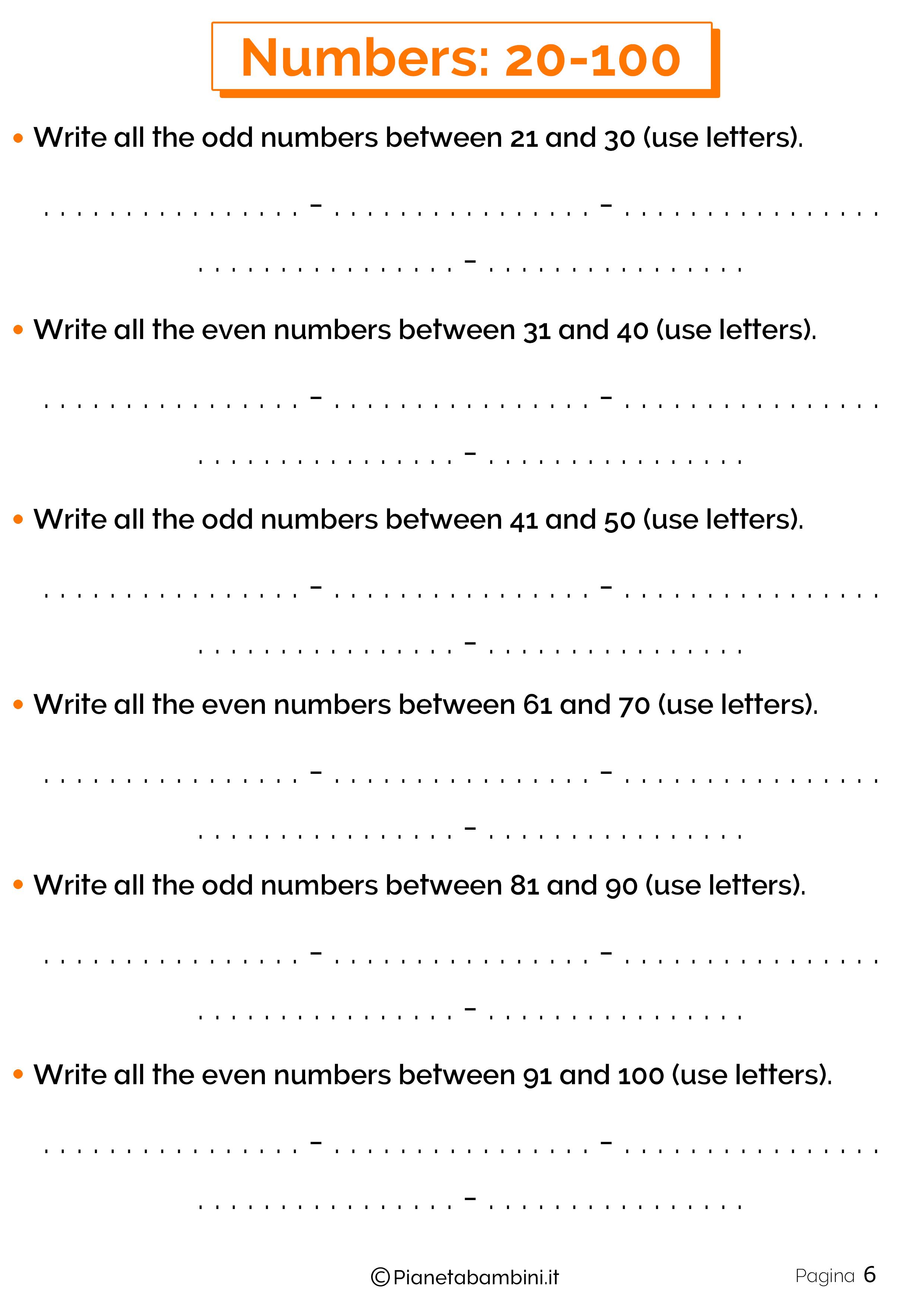 Esercizi sui numeri in inglese da 20 a 100 6