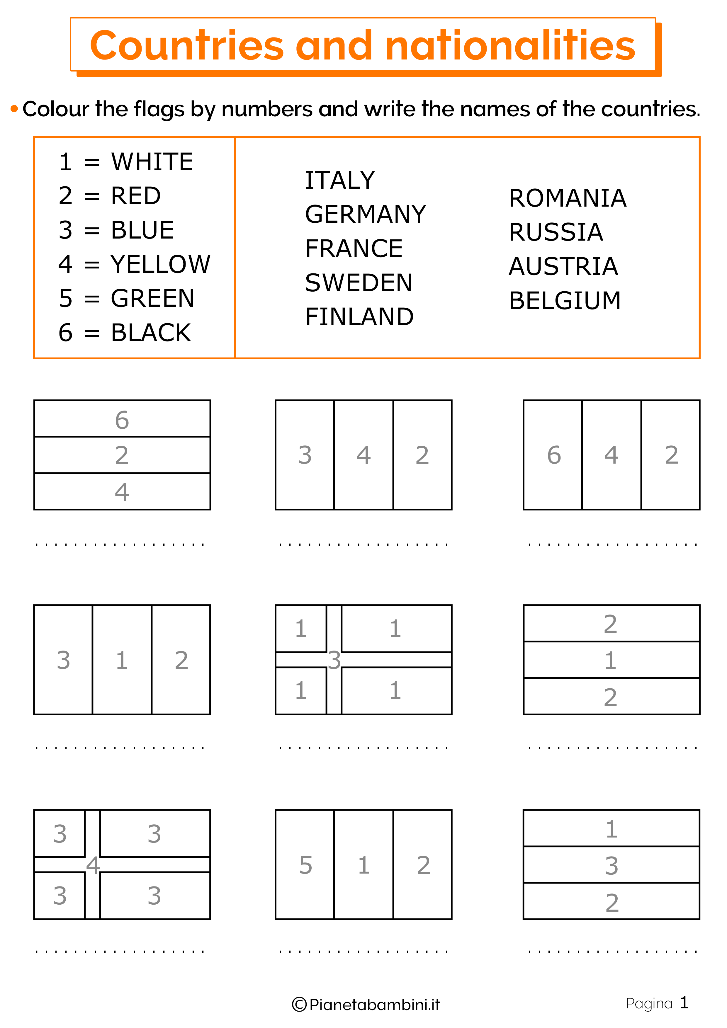 Esercizi su paesi e nazionalita in inglese 1