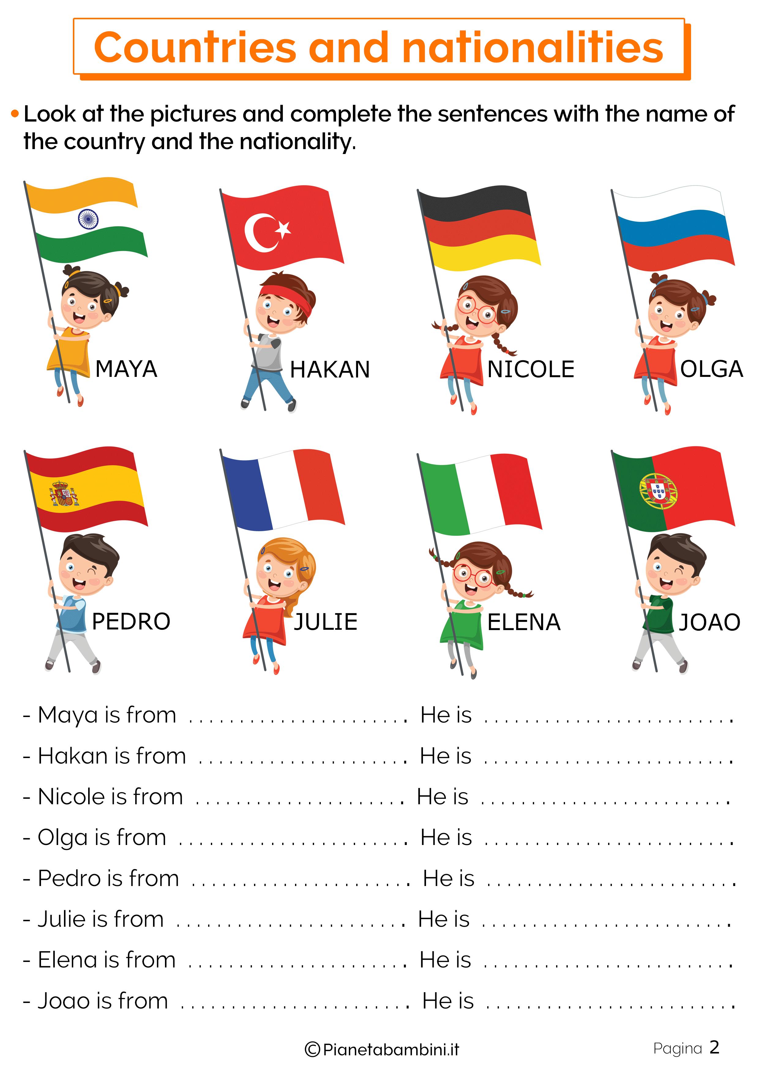 Esercizi su paesi e nazionalita in inglese 2