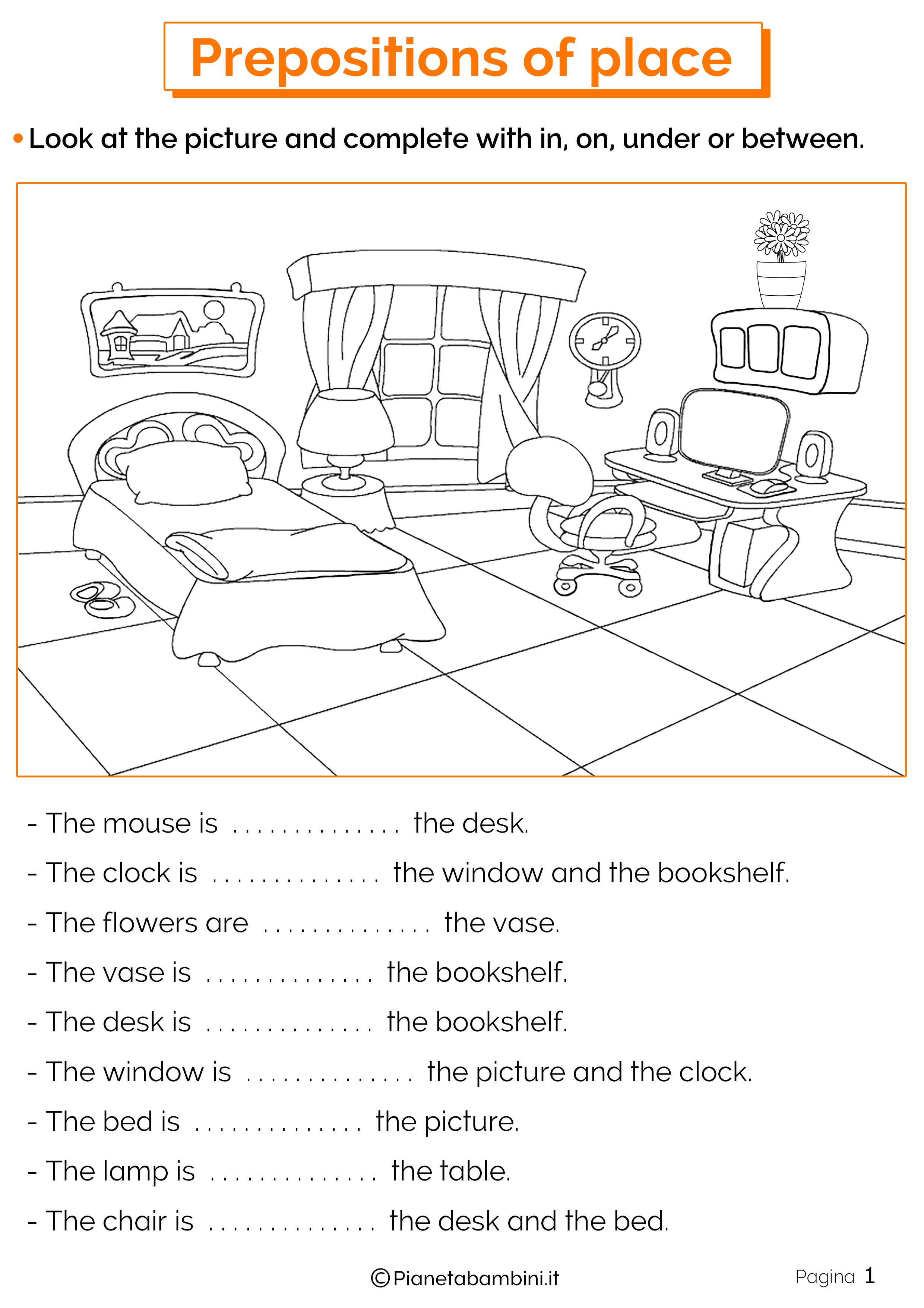 Esercizi preposizioni di luogo in inglese 1