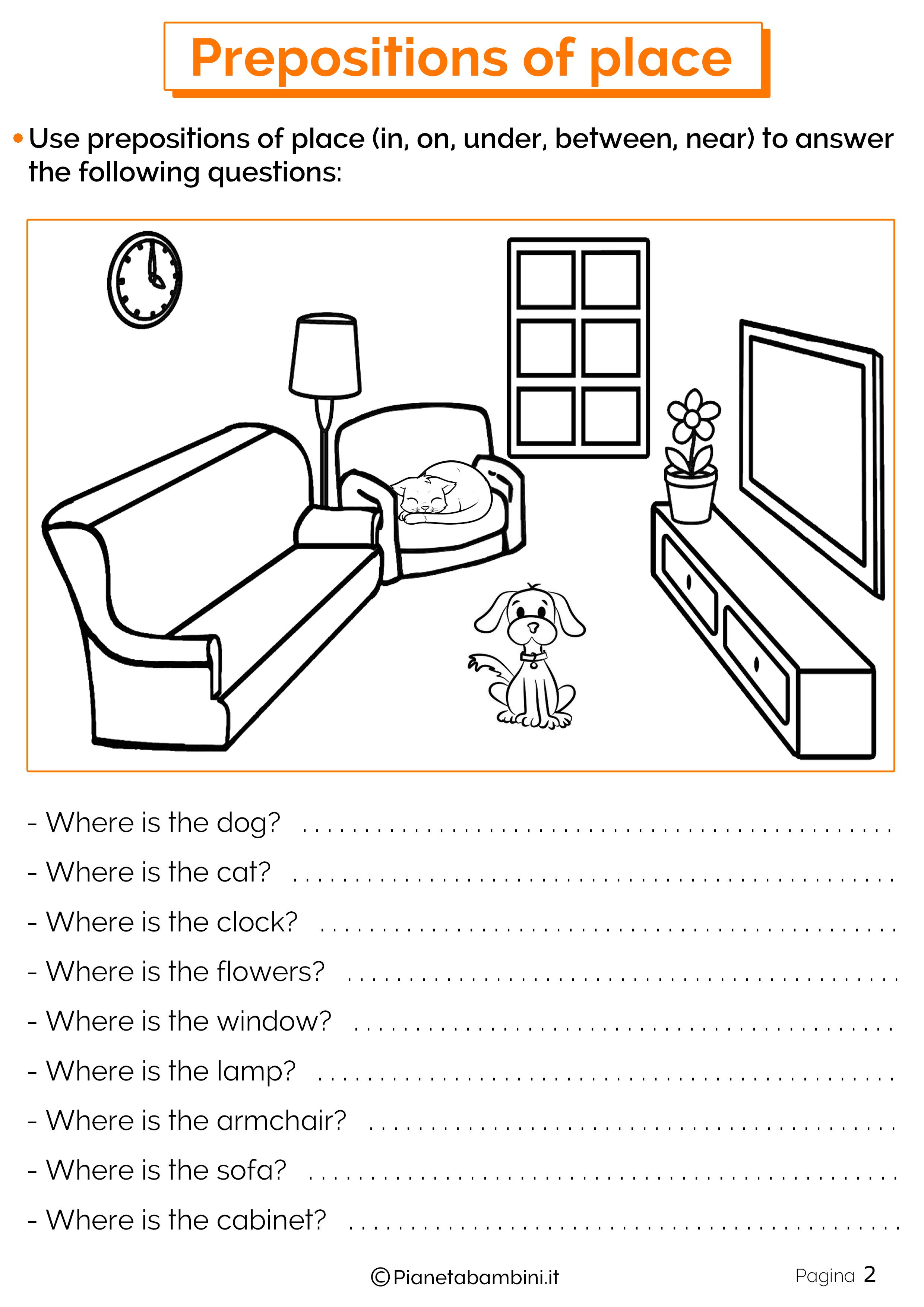 Esercizi preposizioni di luogo in inglese 2