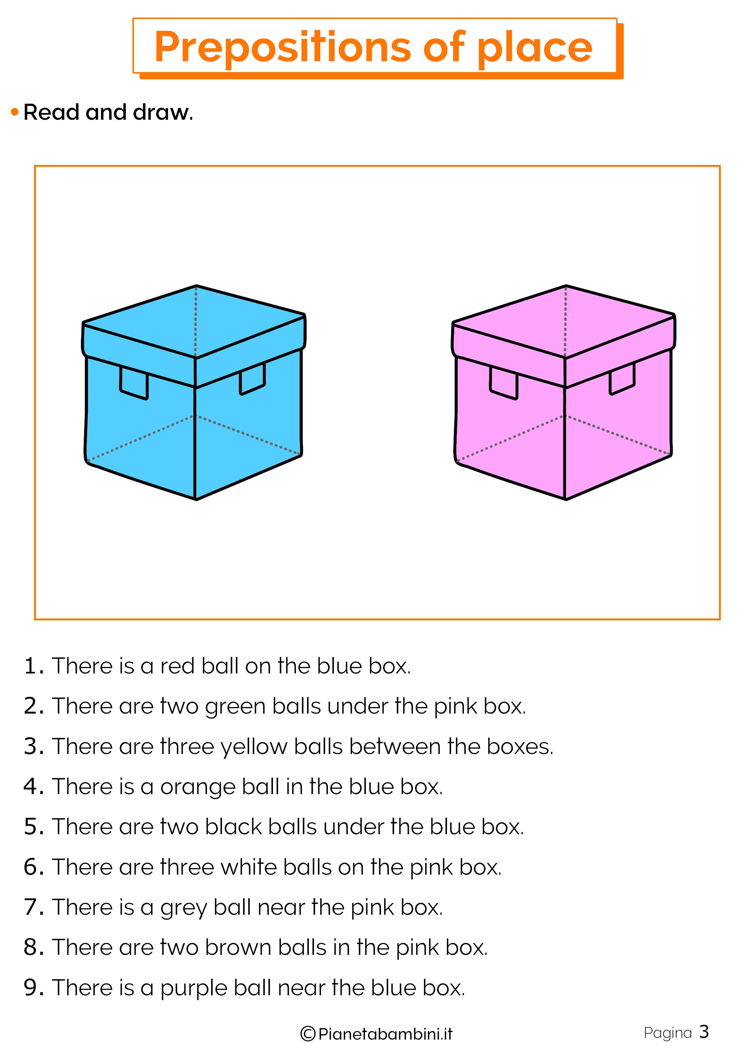 Esercizi preposizioni di luogo in inglese 3