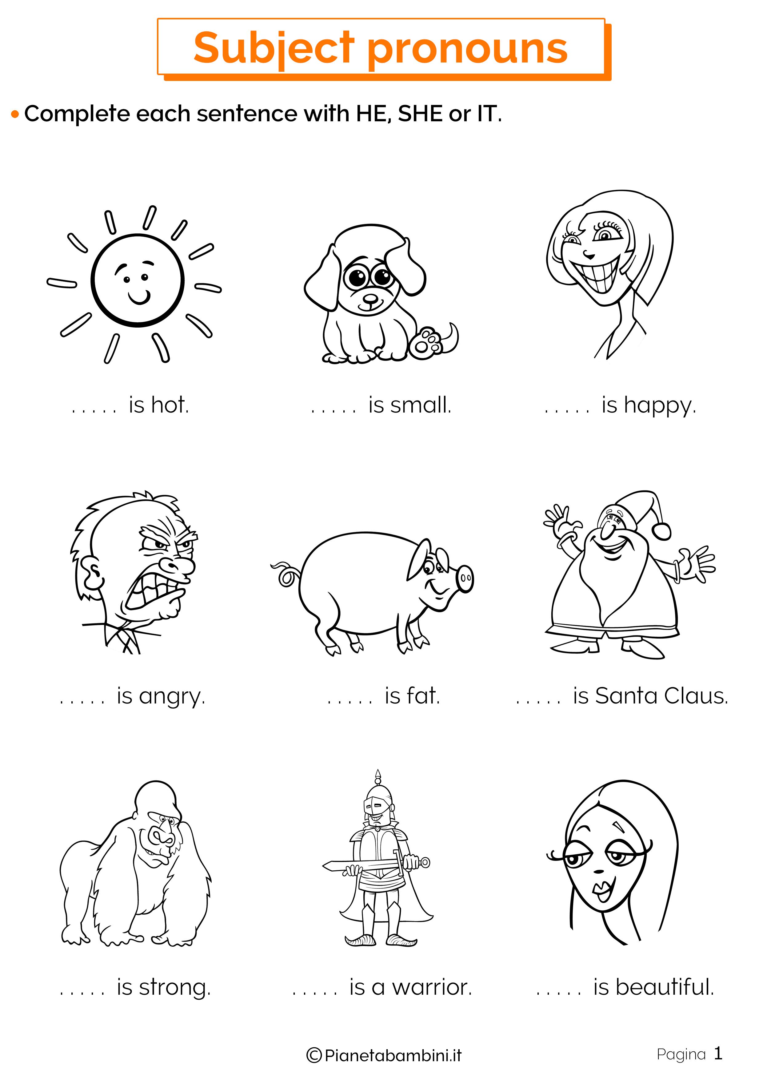 Esercizi sui pronomi personali in inglese 1