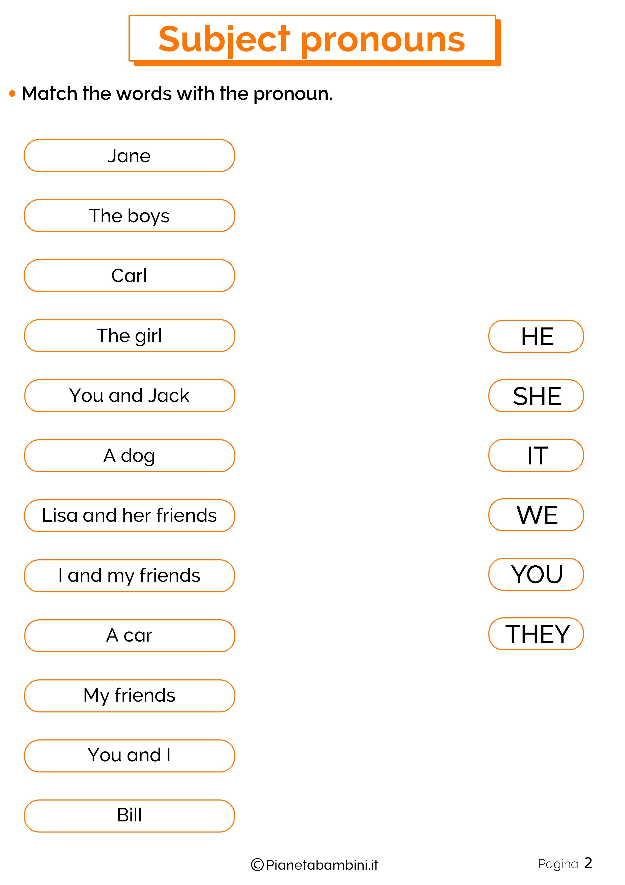Esercizi sui pronomi personali in inglese 2