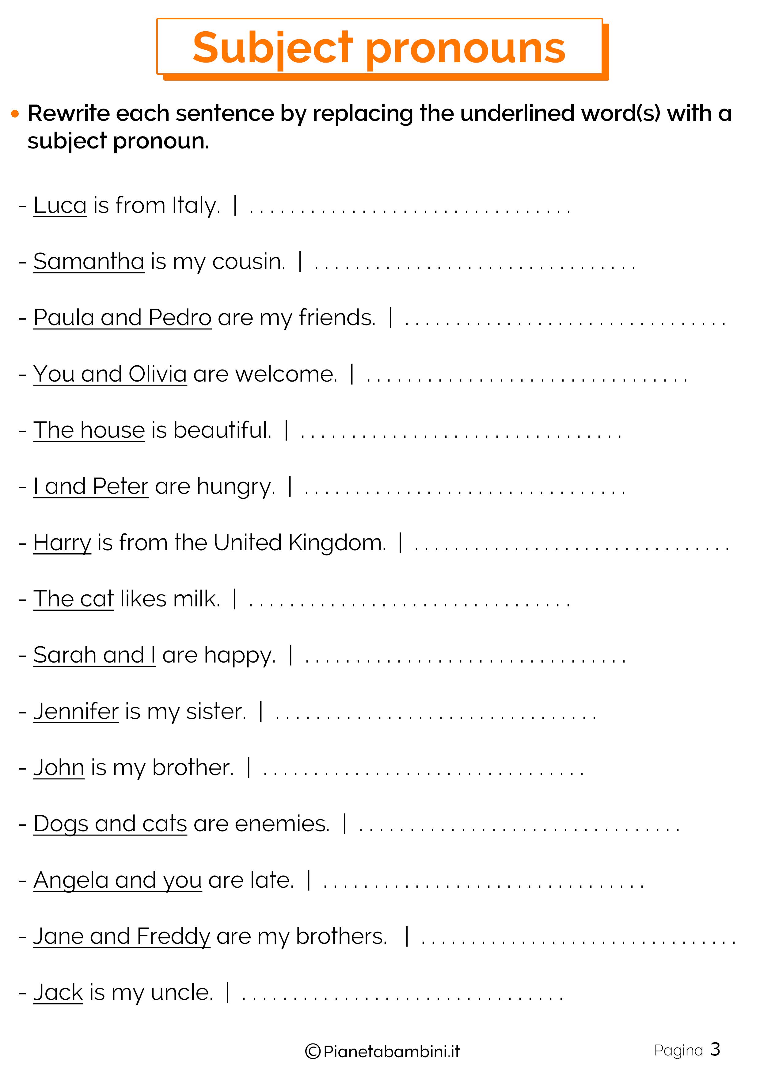 Esercizi sui pronomi personali in inglese 3