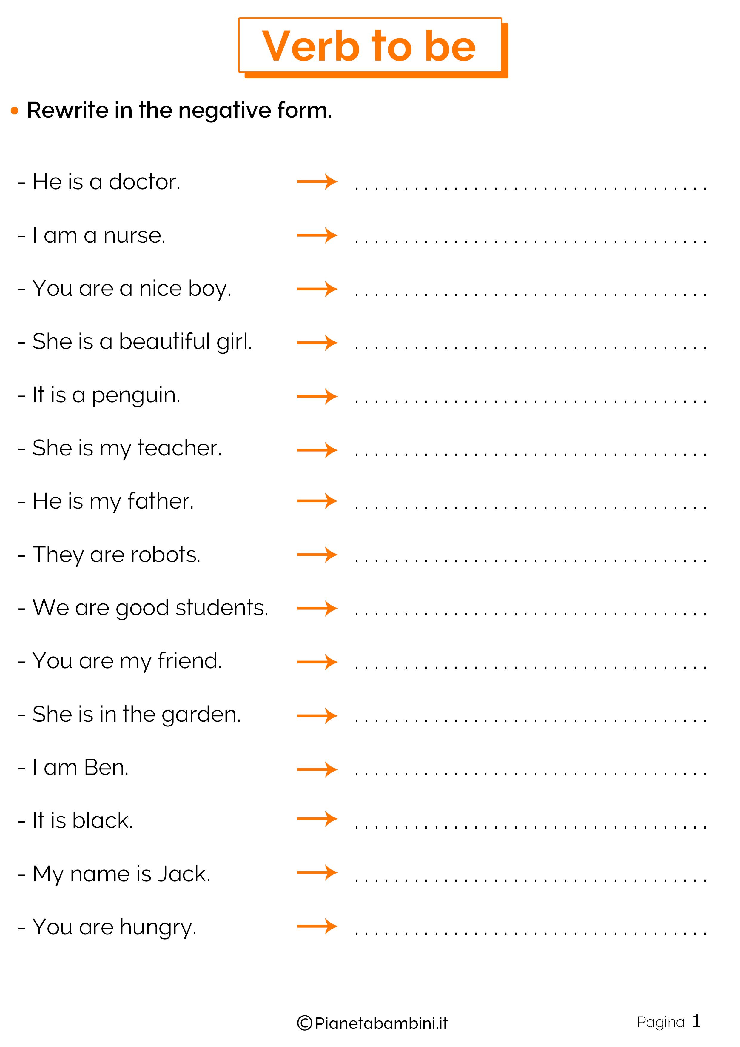 Esercizi sul verbo Essere in inglese 1