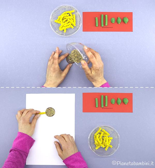 Come creare il centro del girasole con le lenticchie
