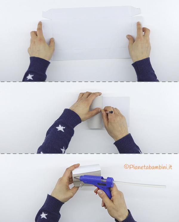 Come ritagliare il cartoncino bianco per creare lo smoking con fine rotolo