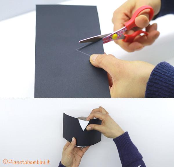 Come ritagliare il cartoncino nero per creare lo smoking con fine rotolo