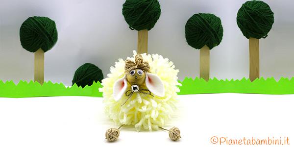 Pecorella pon pon come lavoretto di Pasqua