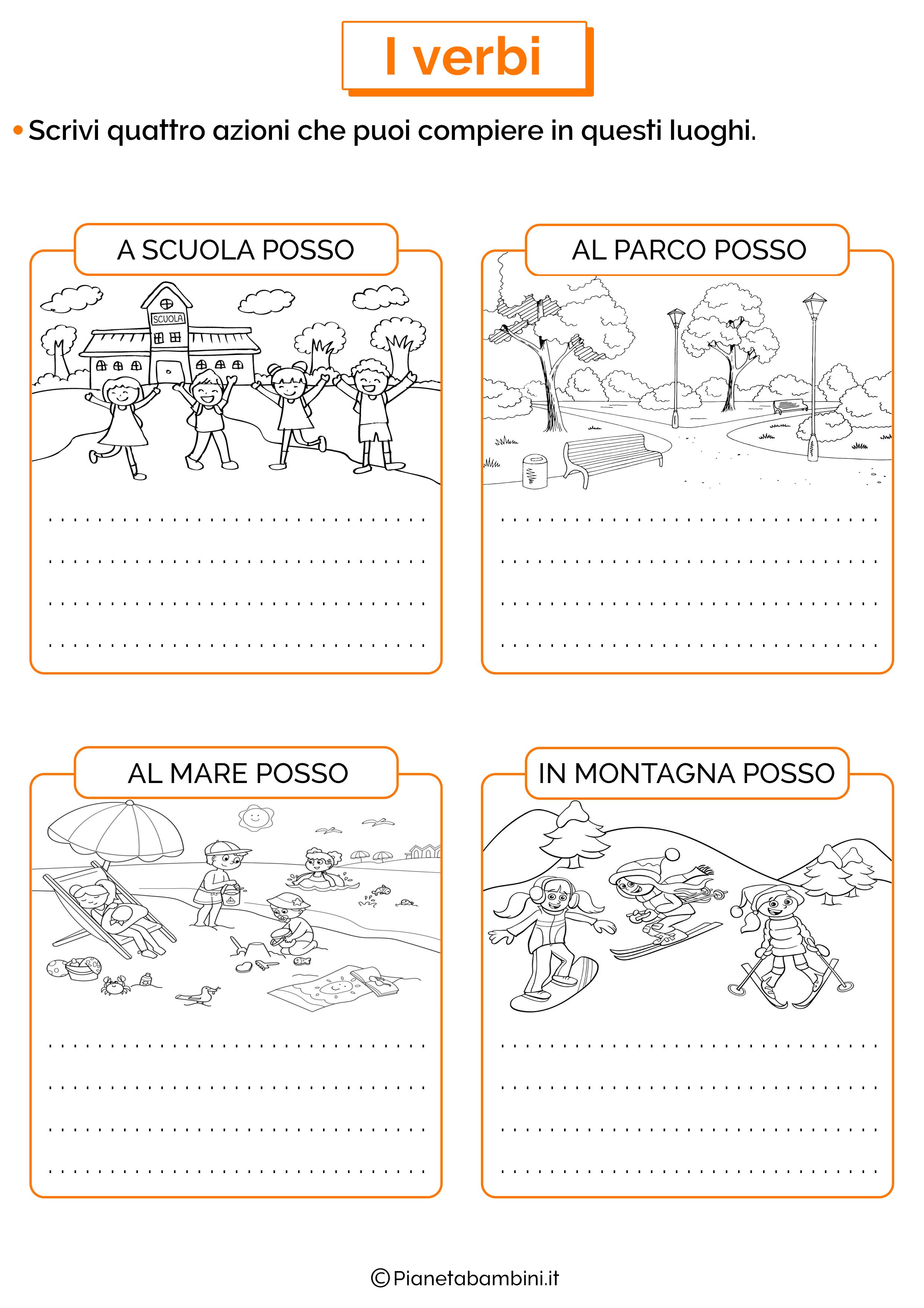Esercizio su azioni o verbi 04