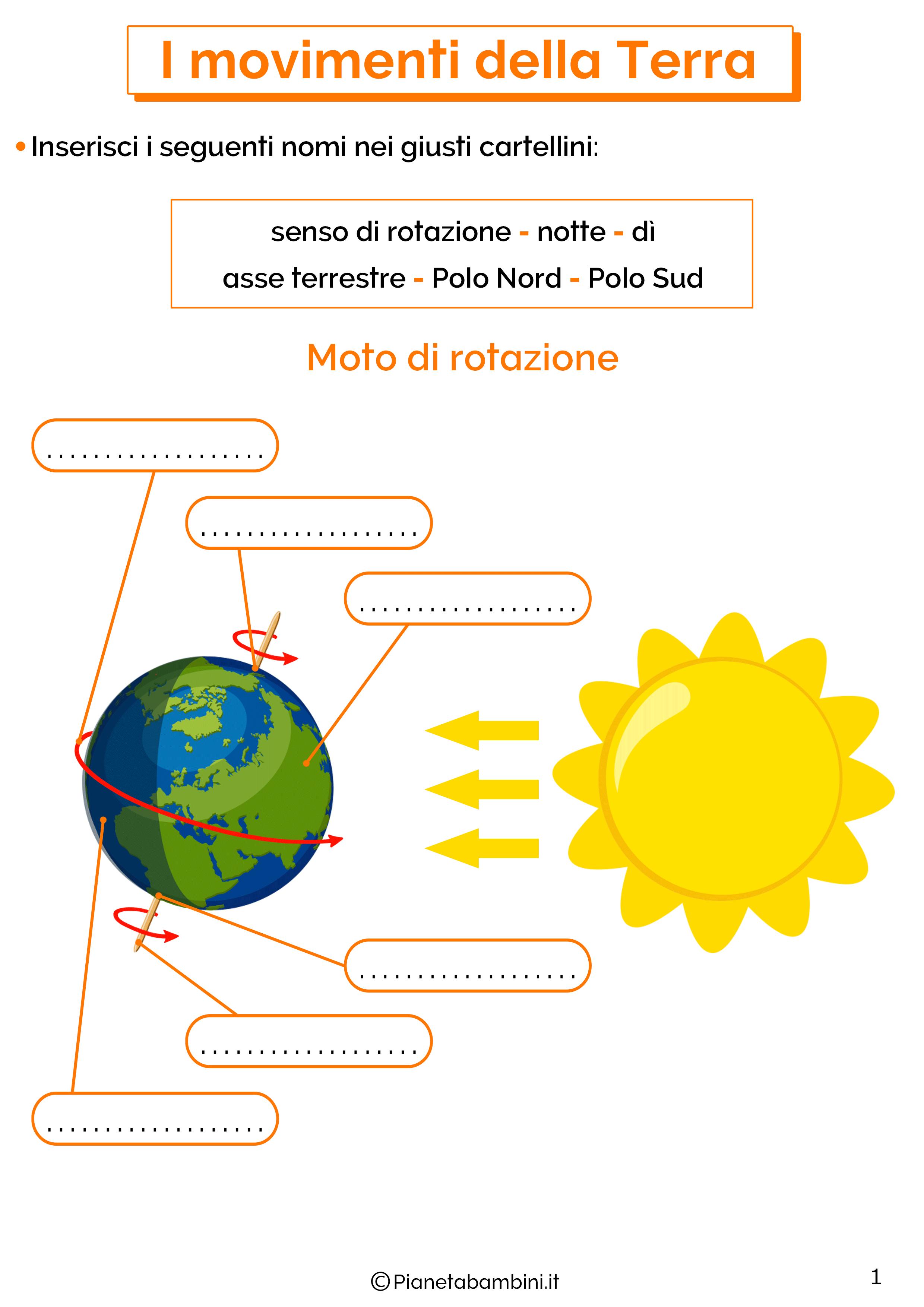 Esercizi sui movimenti della Terra 1