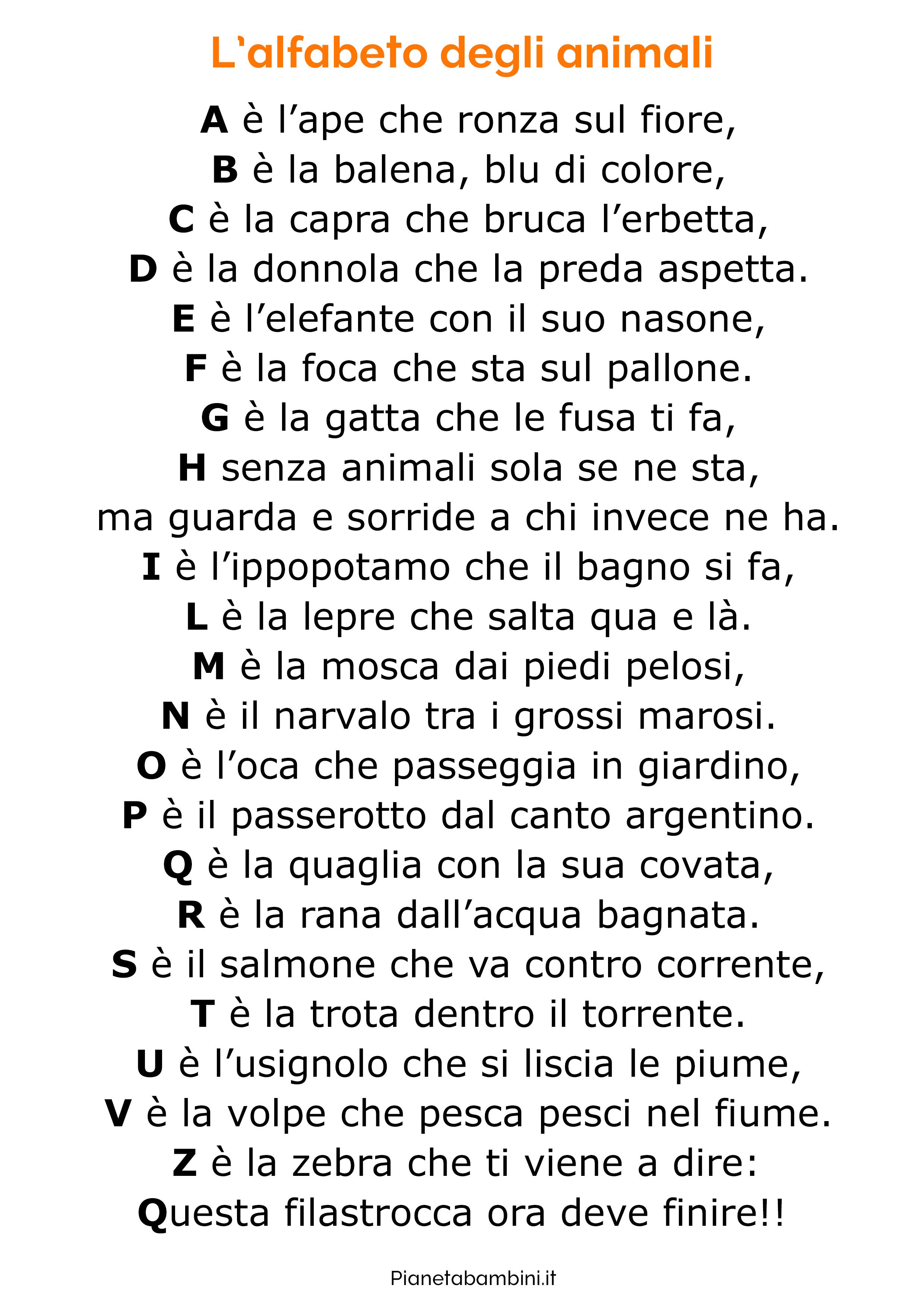 Filastrocca sull'alfabeto 1