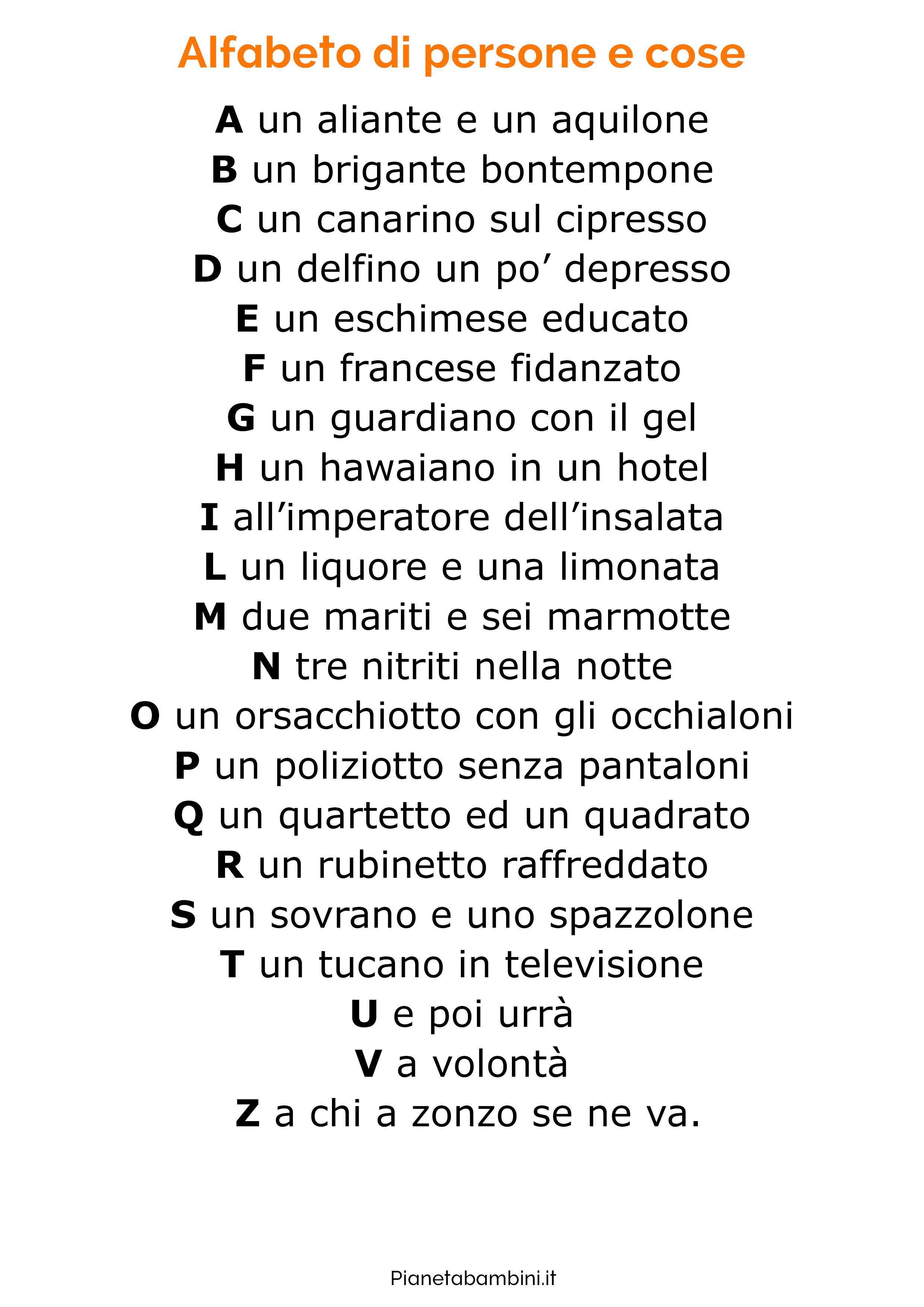 Filastrocca sull'alfabeto 2