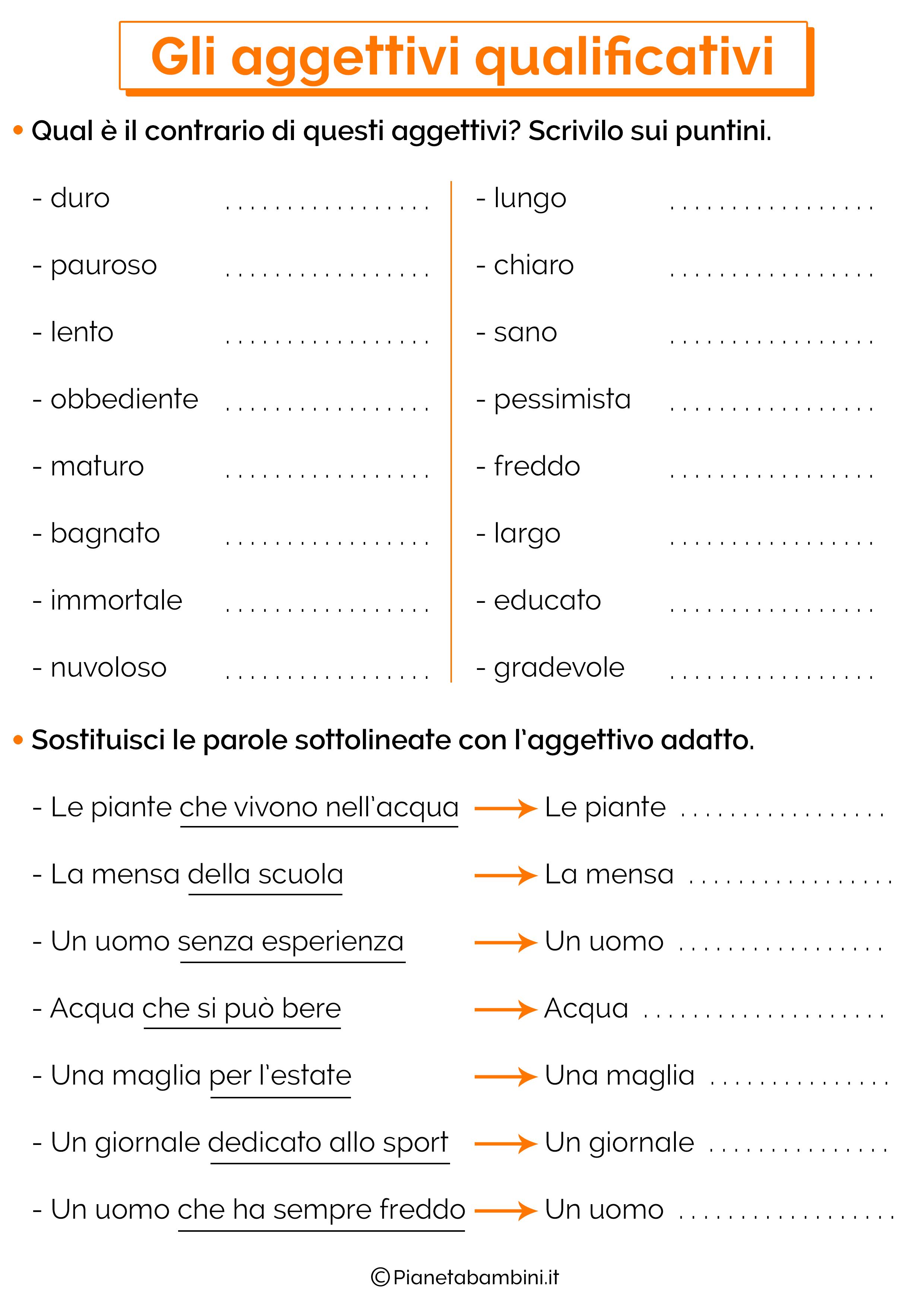 Scheda didattica sugli aggettivi qualificativi 12