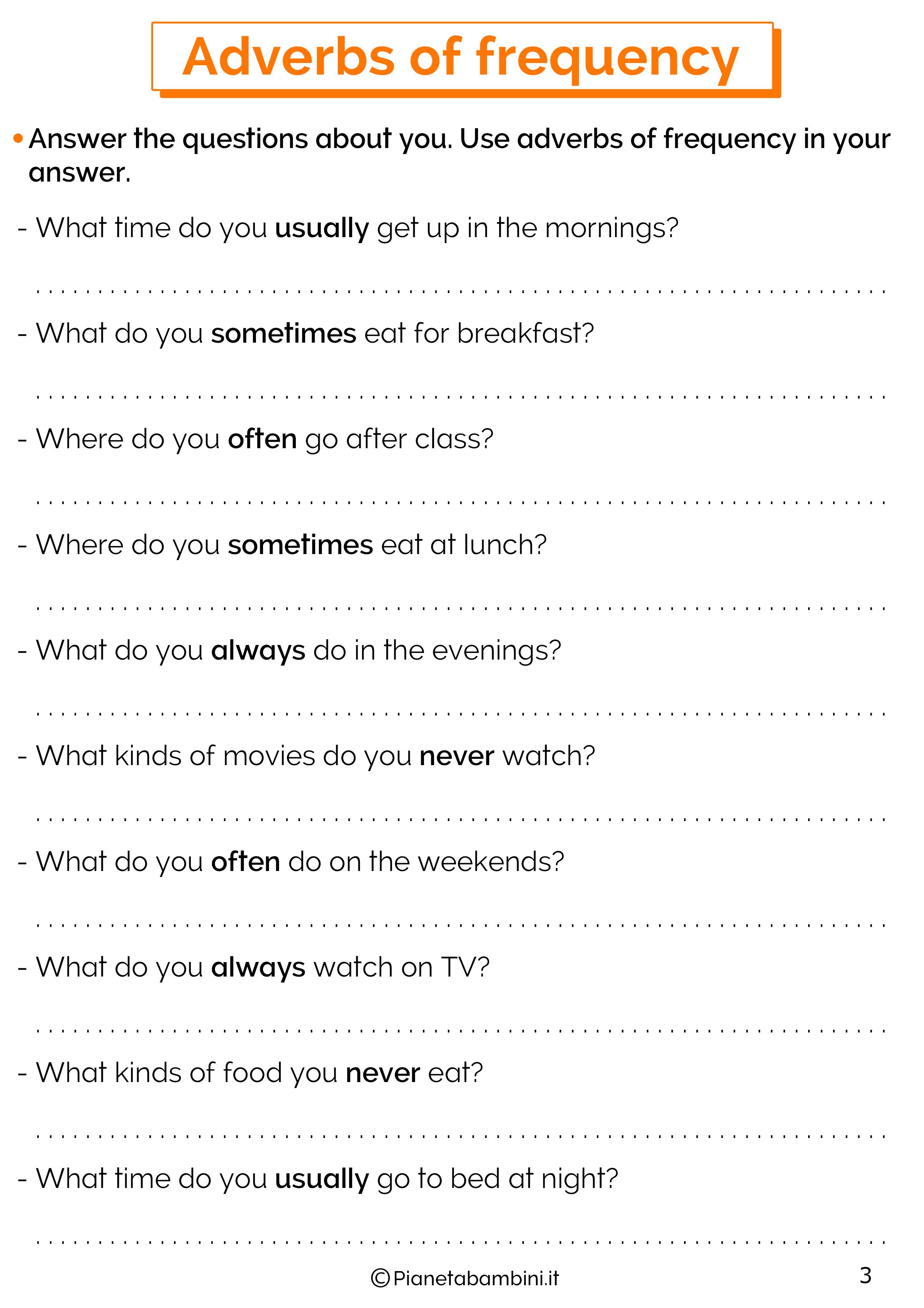 Esercizi sugli avverbi di frequenza in inglese 3