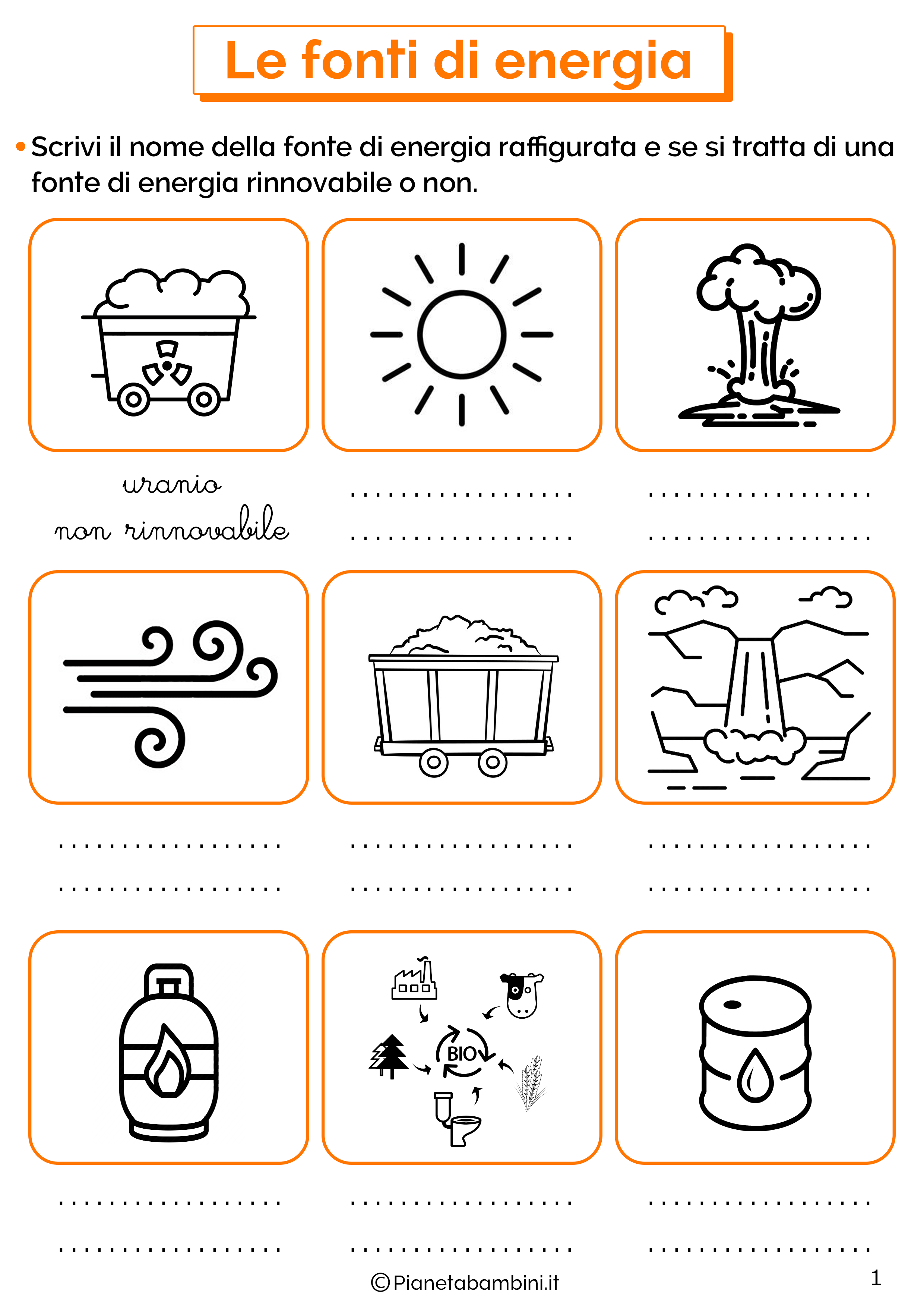 Esercizi sulle fonti di energia 1