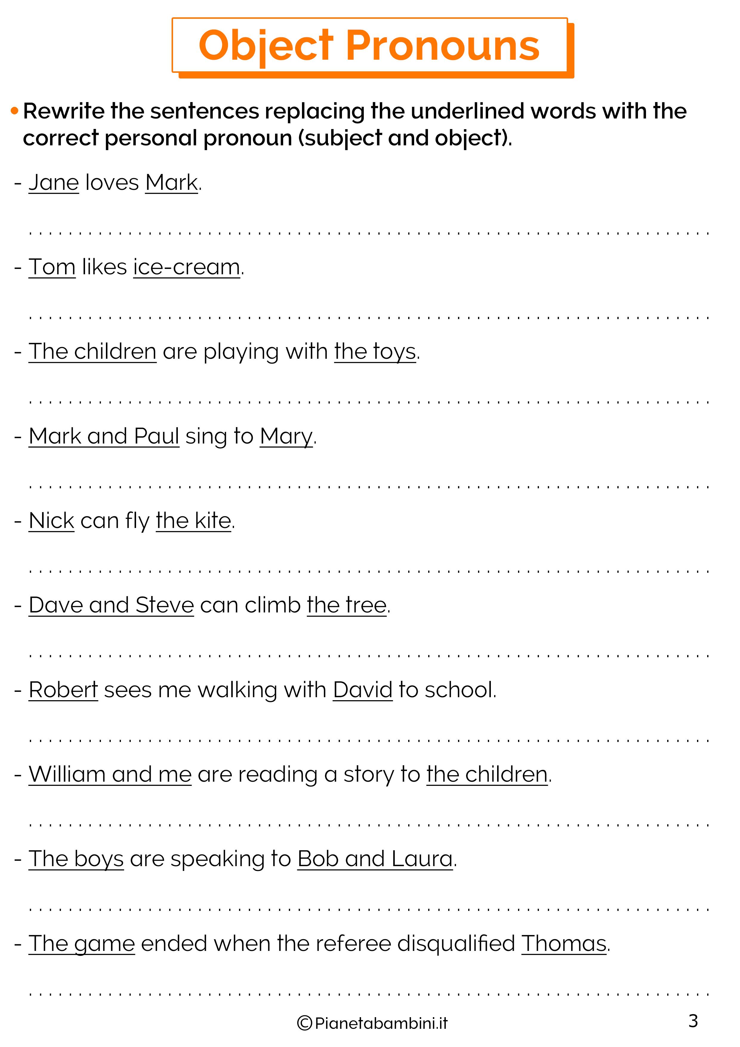 Esercizi sui pronomi oggetto in inglese 3